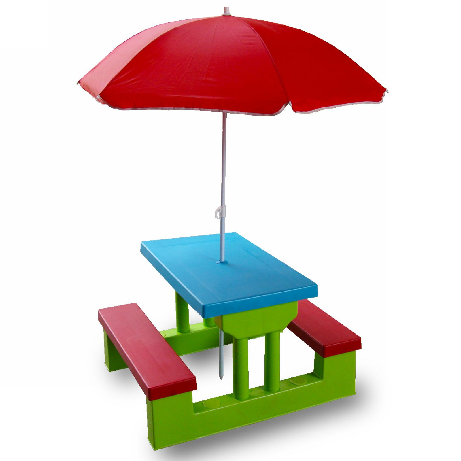 new kids child picnic garden red parasol blue table green bench set 4