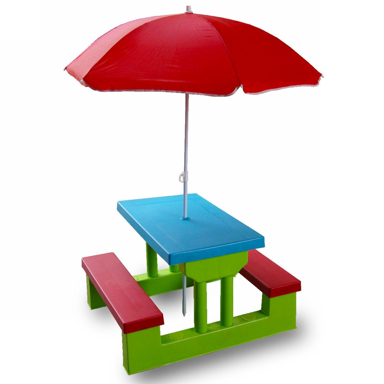 New Kids Child Picnic Garden Red Parasol Blue Table Green Bench Set 4 Children