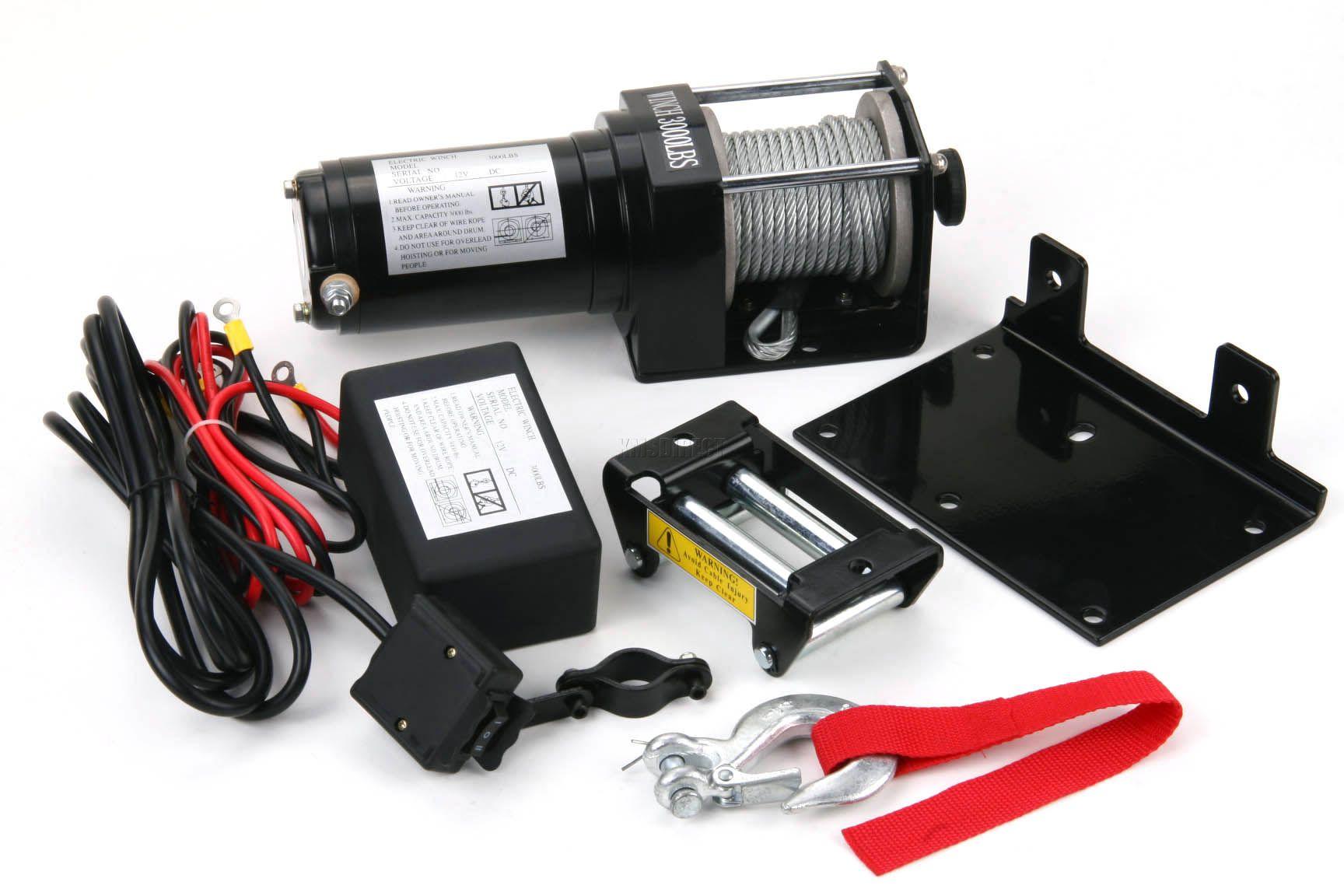 3500 lb electric winch 12v volt with remote control quad. Black Bedroom Furniture Sets. Home Design Ideas