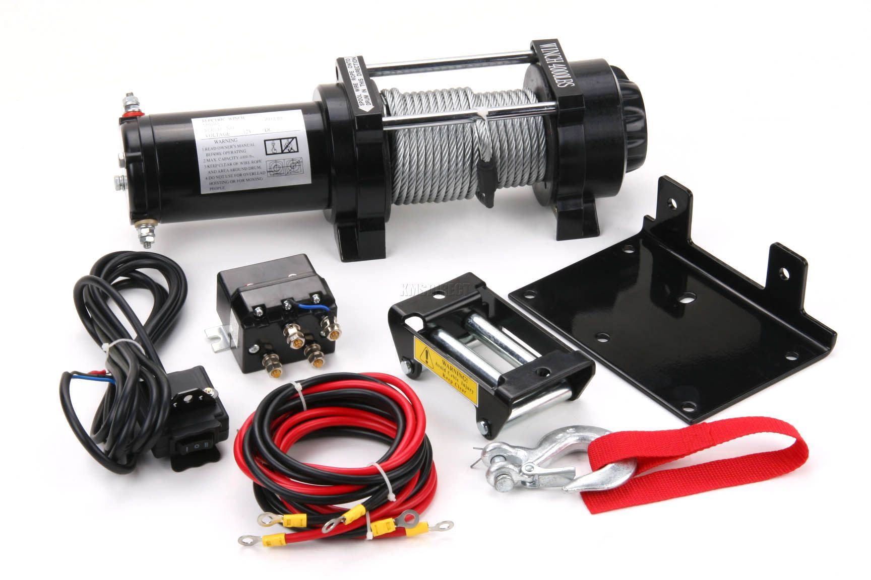 4000 lb electric winch 12v volt with remote control quad for Boat lift motors 12 volt