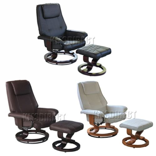 New Faux Leather Ergonomic Office Armchair Swivel Recliner