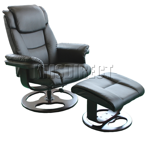 black faux leather swivel office recliner chair with foot stool ebay