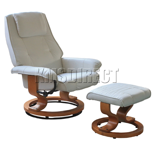 la cream faux leather office armchair swivel recliner chair with foot
