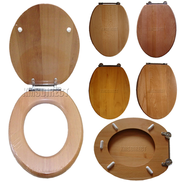Image is loading New Real Solid Wood Wooden Bathroom Toilet Seat  Seats With Chrome