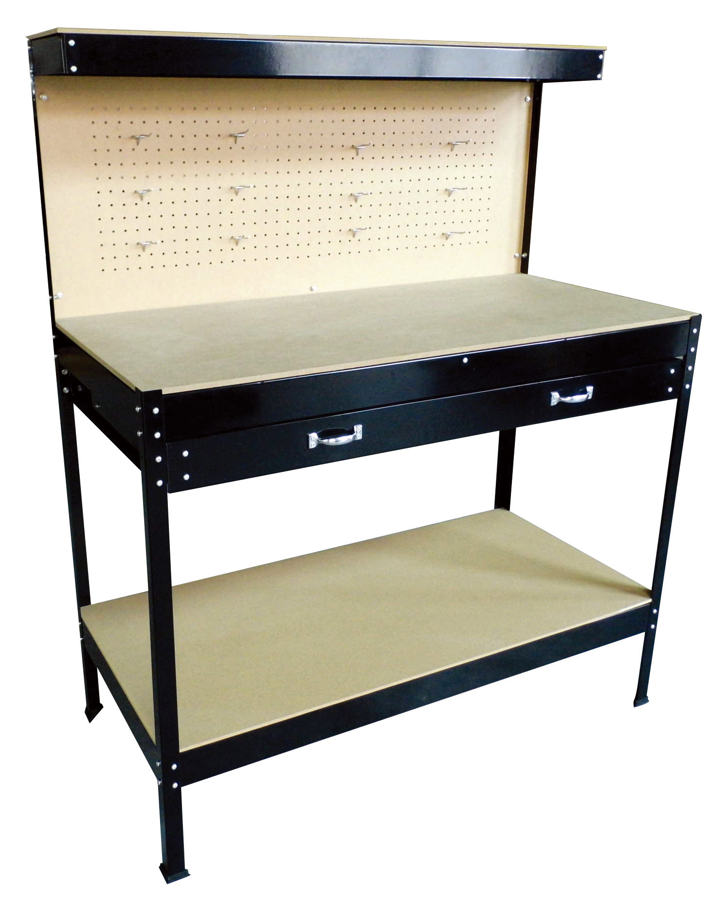 New Black Steel Tools Box Workbench Garage Workshop Table With Pegboard Drawers Ebay
