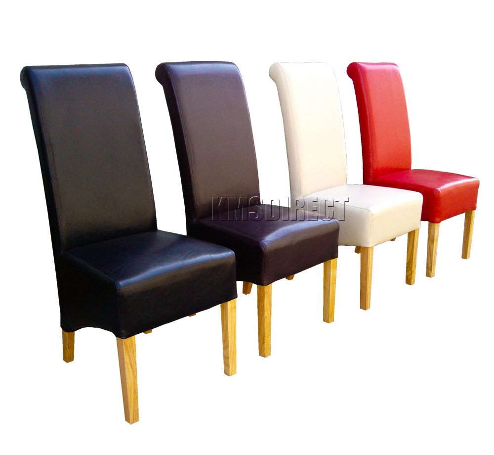 Faux leather dining chairs roll top scroll high back solid for Leather back dining chairs