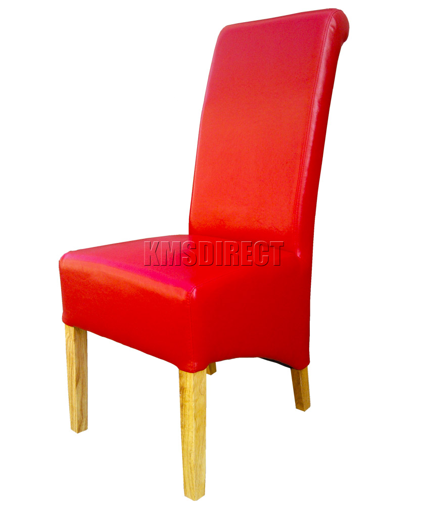 details about red faux leather dining chairs roll top scroll high back
