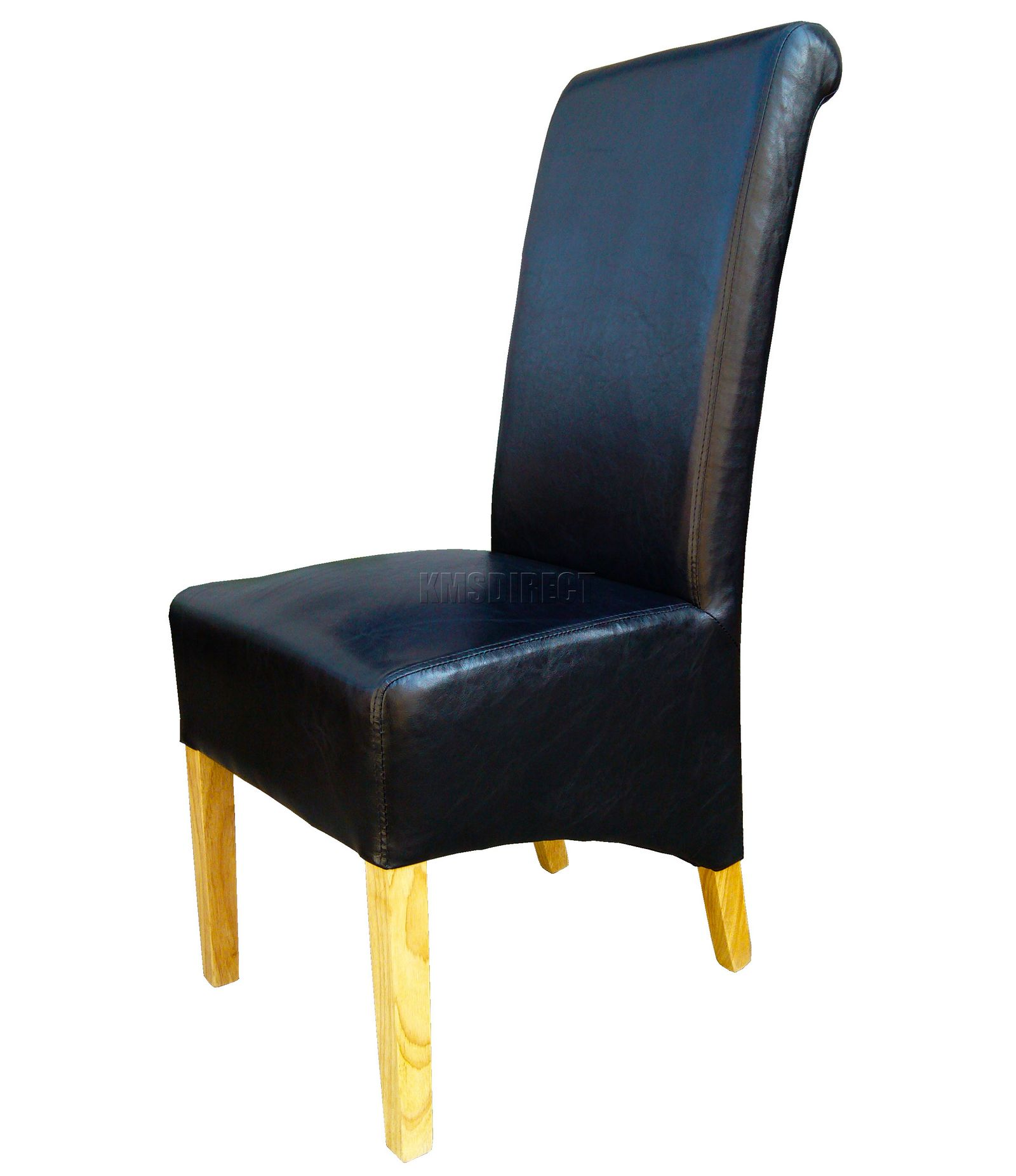 New Premium Dining Chairs Black Faux Leather Roll Top