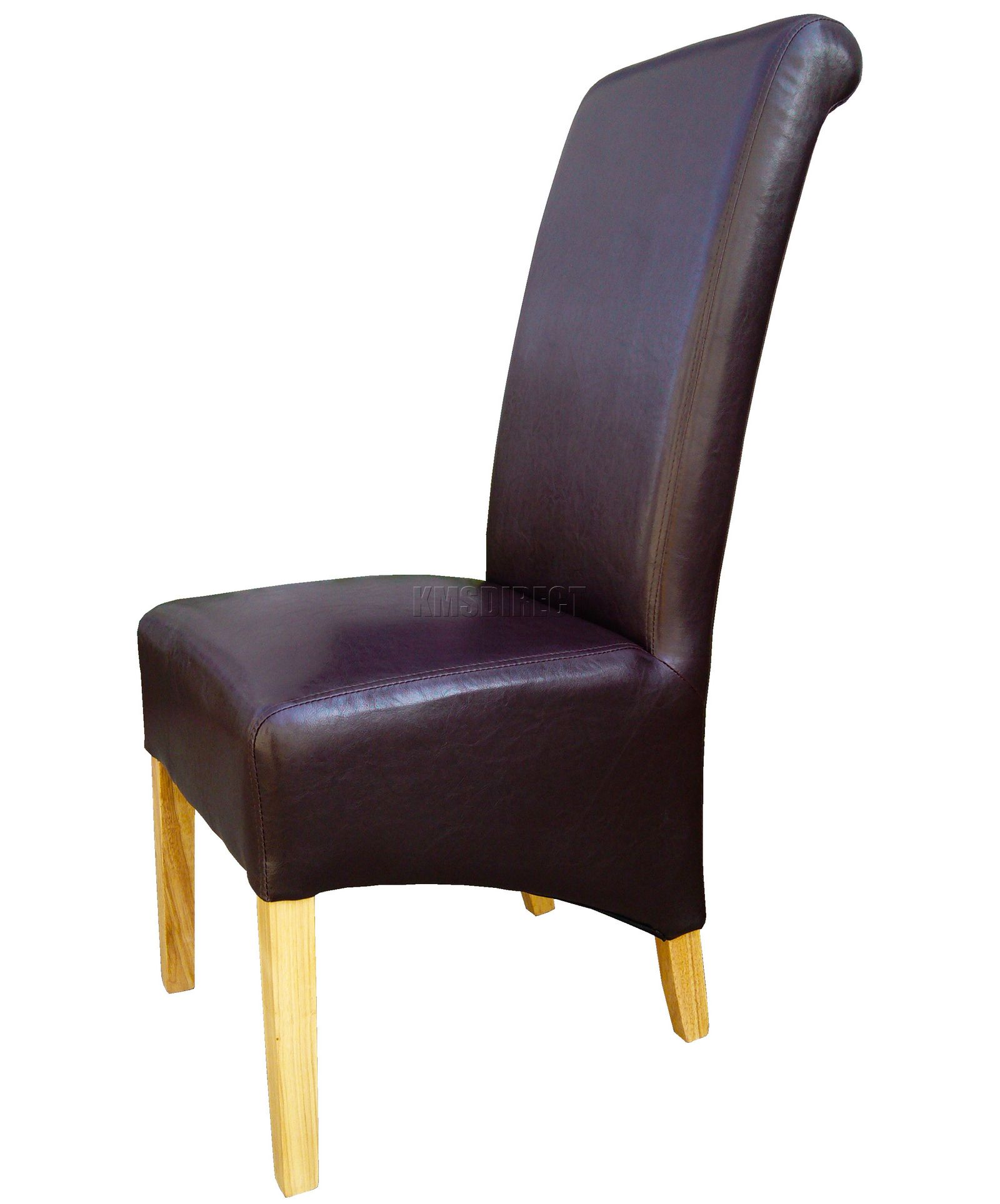 Brown Leather Dining Room Chairs: New Premium Dining Chairs Brown Faux Leather Roll Top