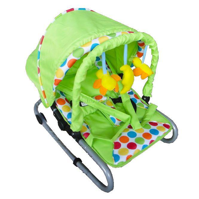 Babyschaukel baby schaukelstuhl mit haube und spielzeug for Schaukelstuhl baby