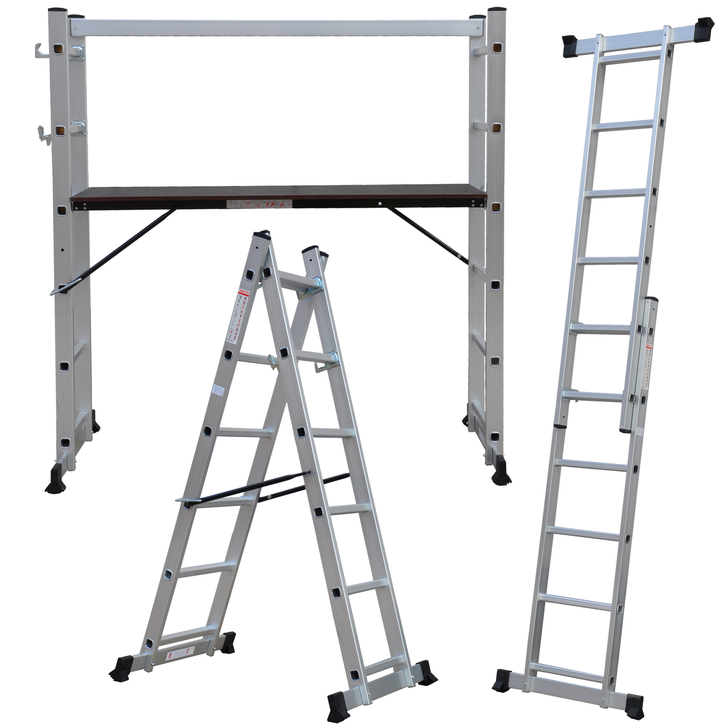 New Multi Purpose Diy Step Ladder Aluminium 5 Way Scaffold