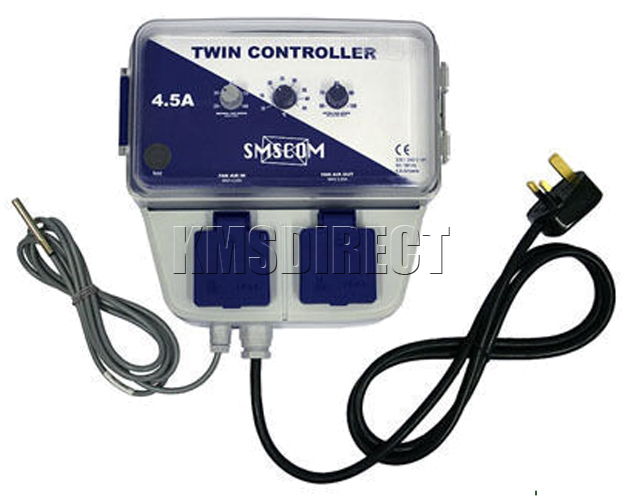 Temperature Controlled Room Fan : Smscom twin fan speed temperature controller amp