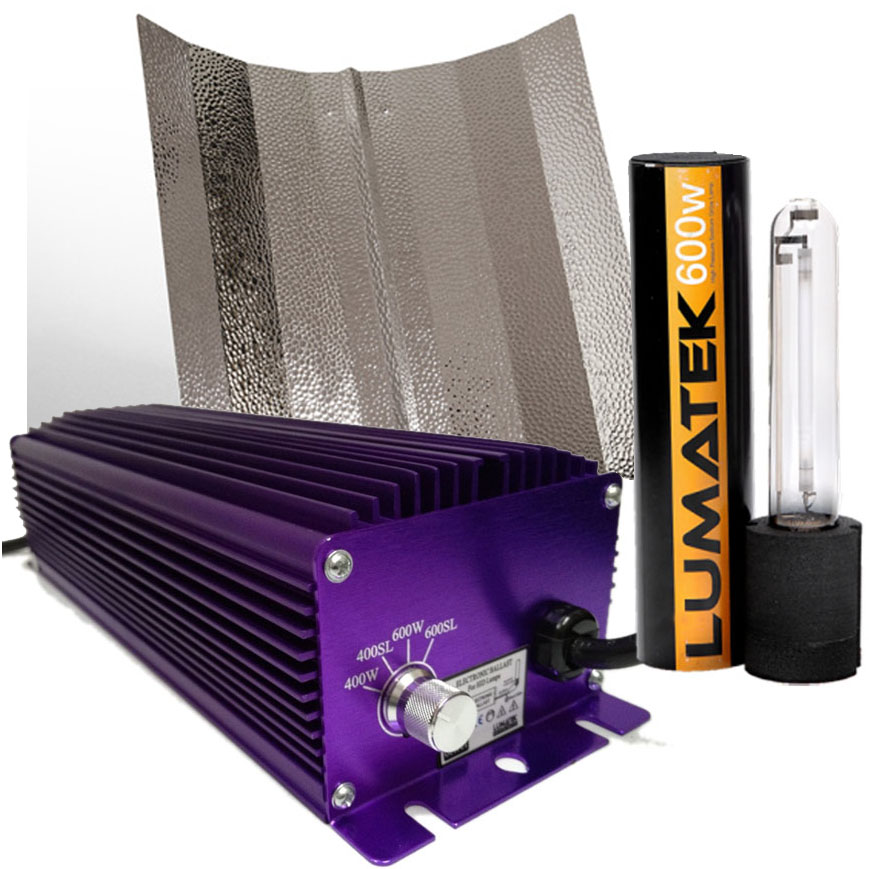 hydroponics grow light kits lumatek 400w 600w dimmable ballast shade hps bulb ebay