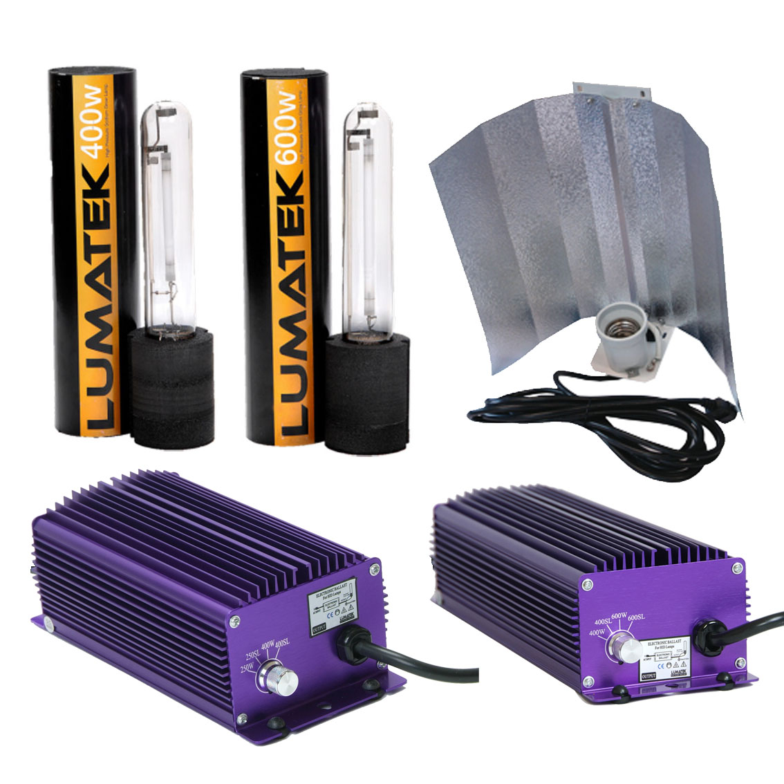 Image is loading Lumatek-Hydroponics-Grow-Light-Kits-400w-600w-Dimmable-  sc 1 st  eBay & Lumatek Hydroponics Grow Light Kits 400w 600w Dimmable Ballast HPS ... azcodes.com