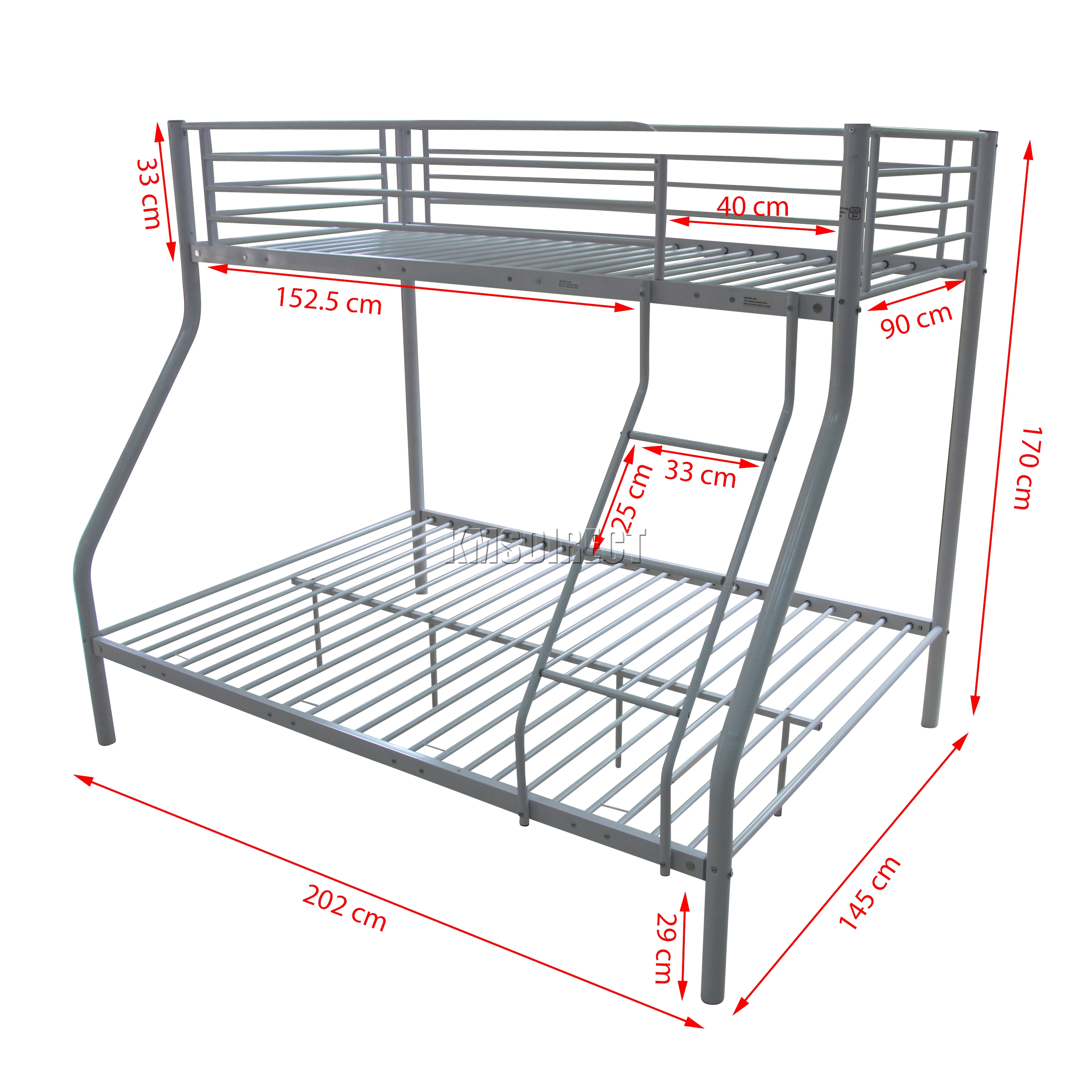 Foxhunter Bunk Bed Single Double Triple Children Metal Sleeper Frame