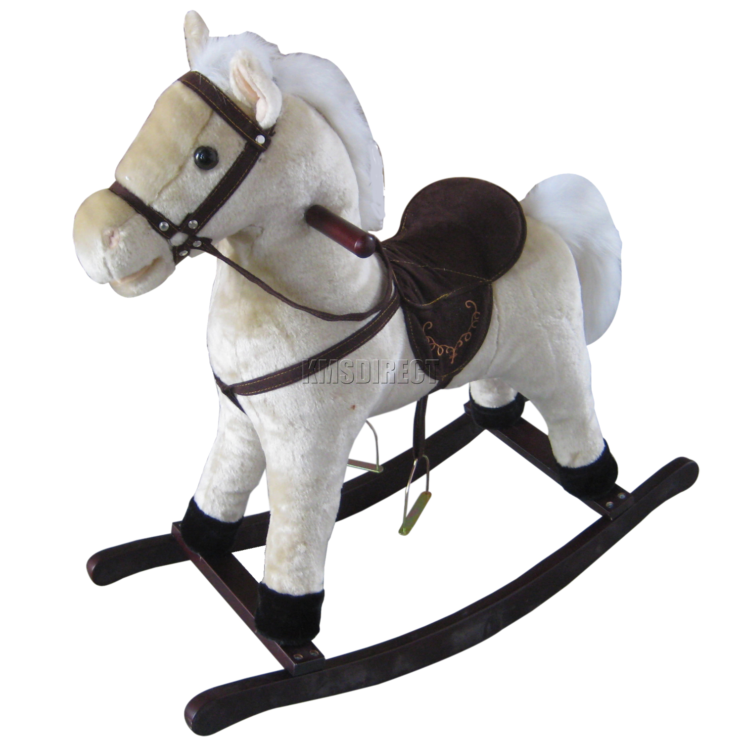 Children Kid 68cm Small White Rocking Horse With Sound Great Traditional Toy New