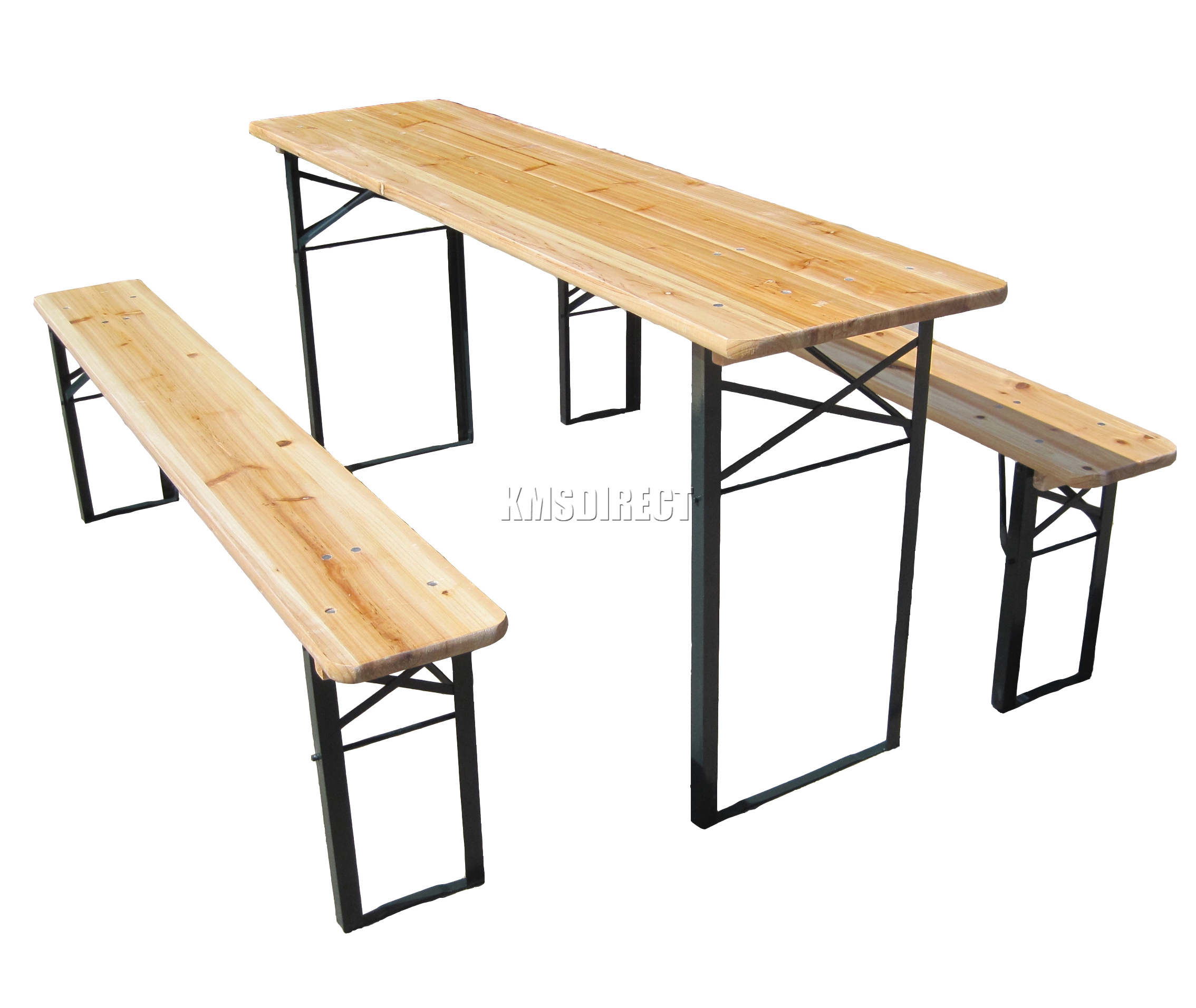 Outdoor Wooden Folding Beer Table Bench Set Trestle Garden Furniture Steel Leg