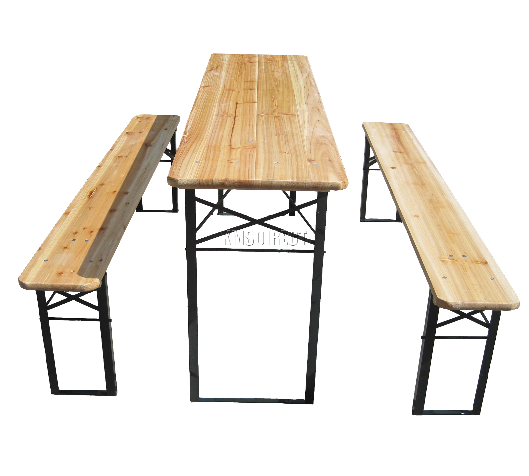 Wooden Folding Beer Table Bench Set Trestle Party Pub Garden Furniture Steel