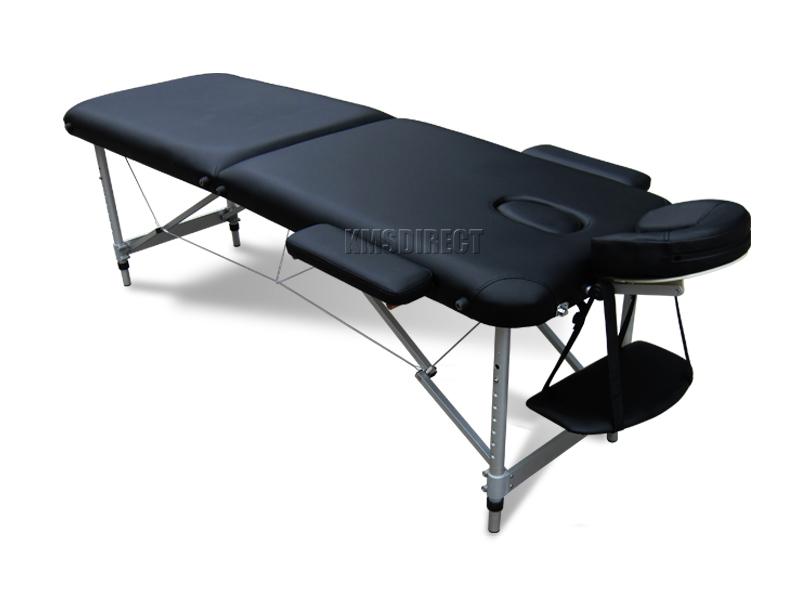 schwarz portabel massage tisch bett beauty therapie sofa 2 abschnitt alu ebay. Black Bedroom Furniture Sets. Home Design Ideas