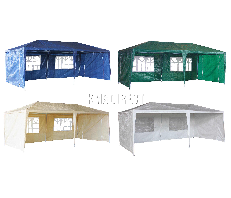 foxhunter 3m x 3m 4m 6m 9m pe gazebo waterproof garden marquee canopy party tent ebay. Black Bedroom Furniture Sets. Home Design Ideas