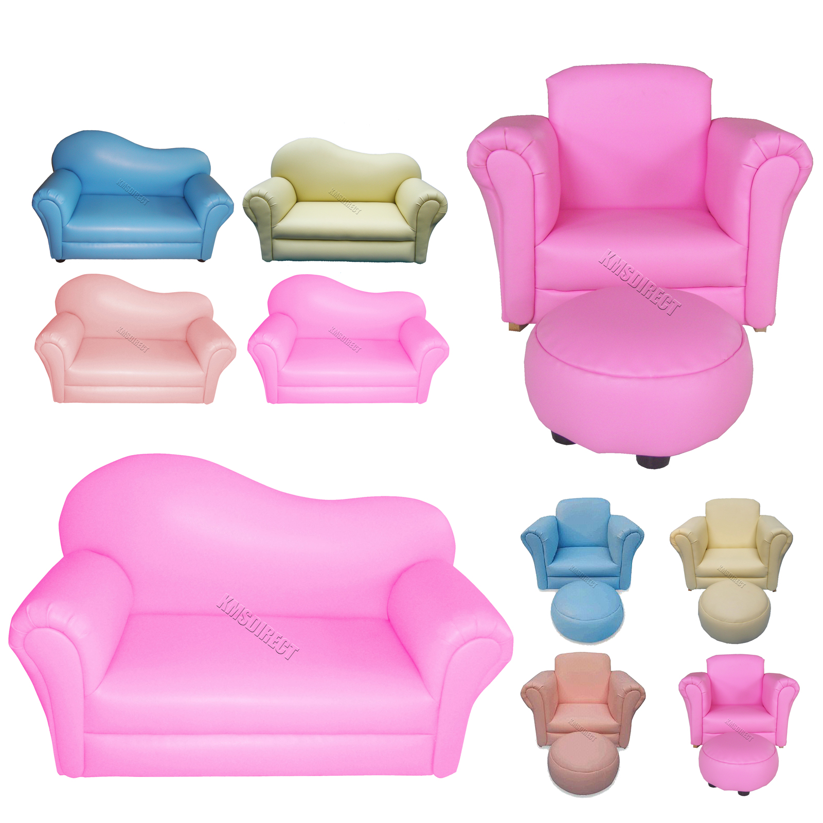 Children kids child sofa bedroom furniture armchair couch for Childrens armchair and footstool