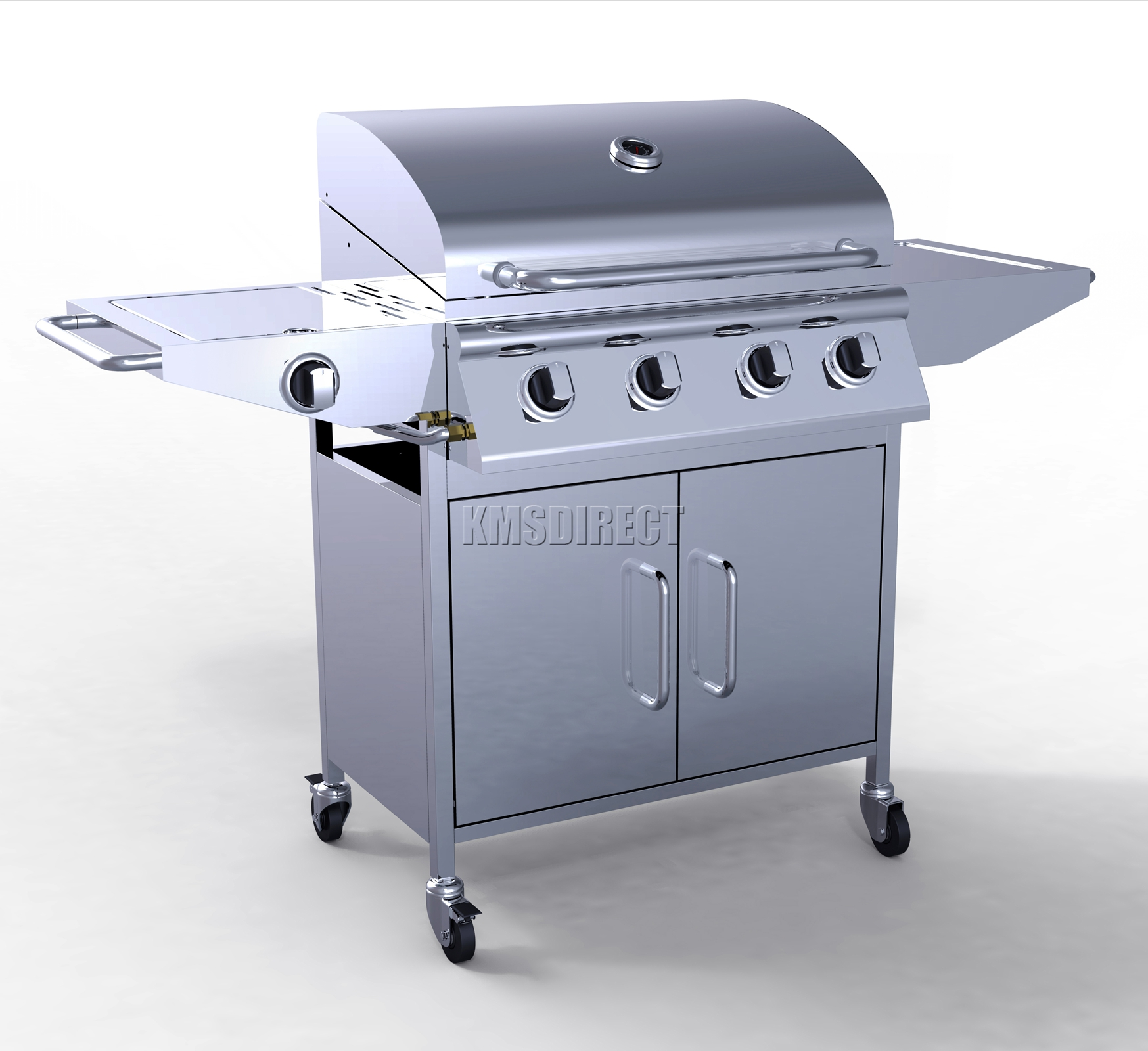 4 burner bbq gas grill edelstahl grill 1 seite silber outdoor tragbar ebay. Black Bedroom Furniture Sets. Home Design Ideas