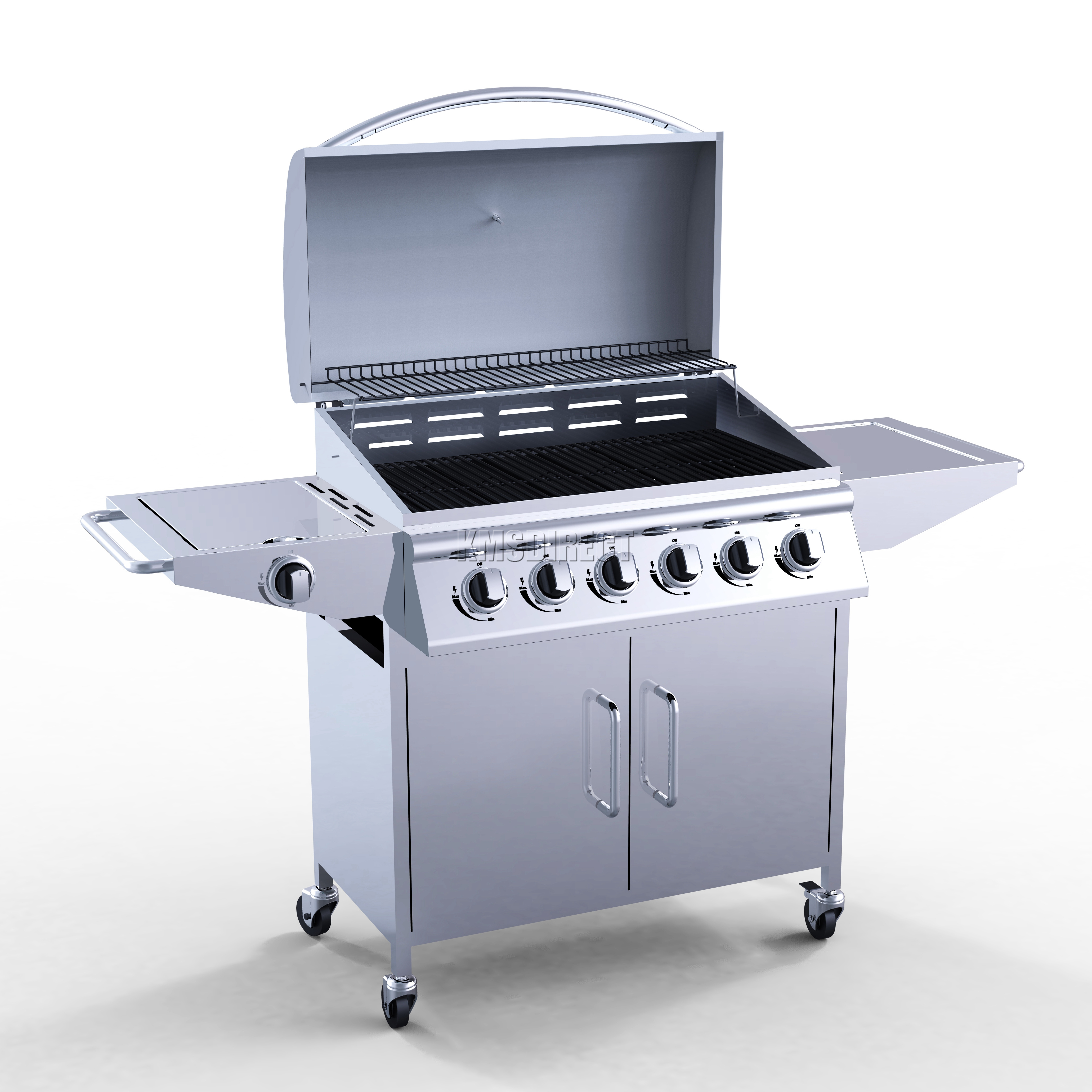 6 burner bbq gas grill stainless steel barbecue 1 side silver outdoor portable. Black Bedroom Furniture Sets. Home Design Ideas
