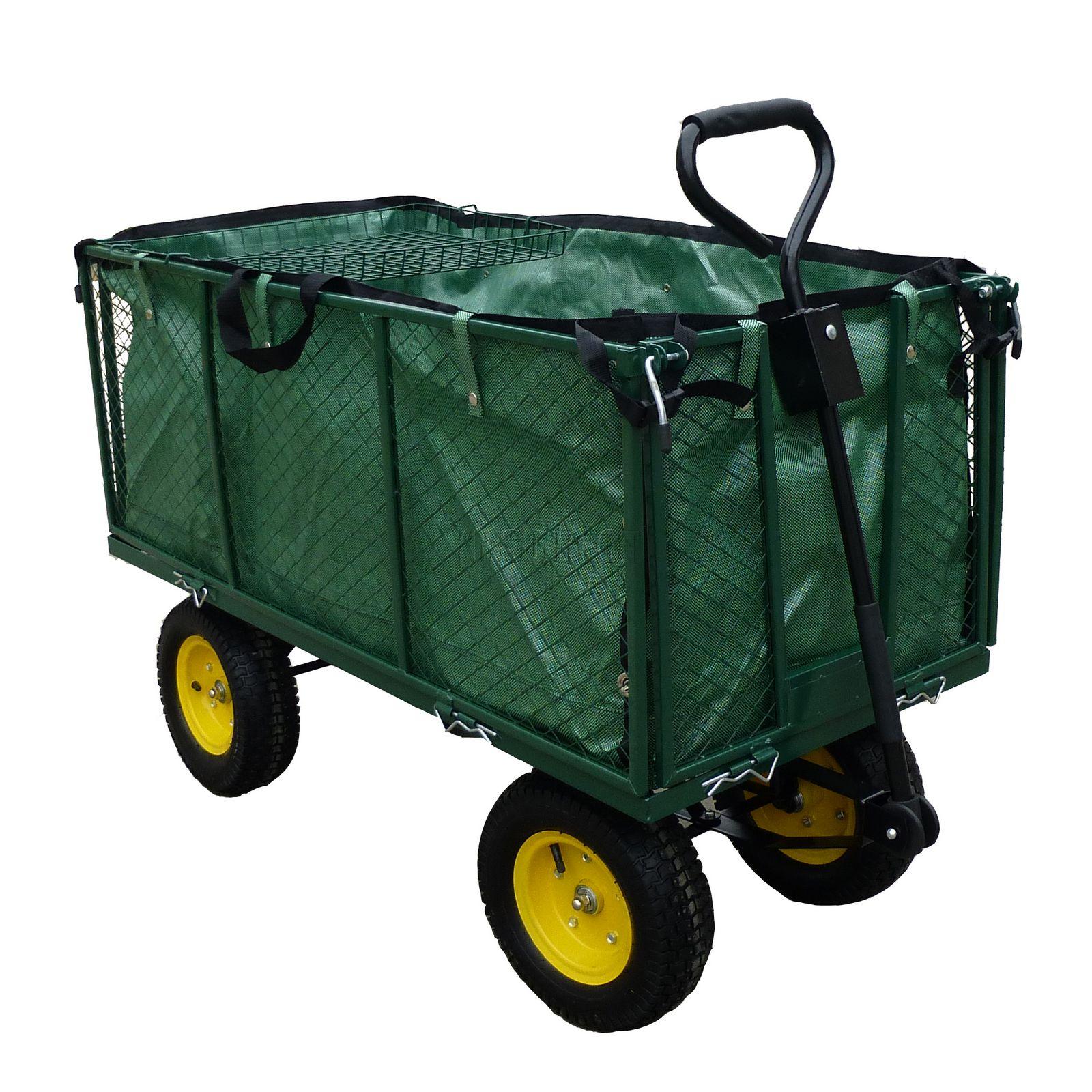 4 Wheel Garden Trolley Cart Truck Wheelbarrow Tipper
