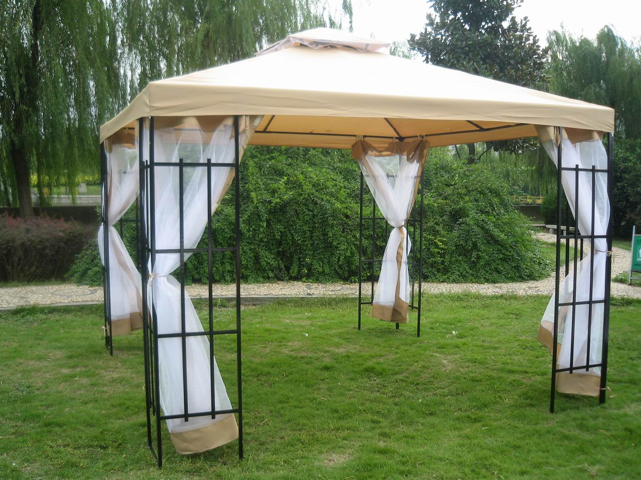 Backyard Gazebo Tent :  Patio Metal Gazebo Canopy Tent Pavilion Garden Outdoor Awning Marquee