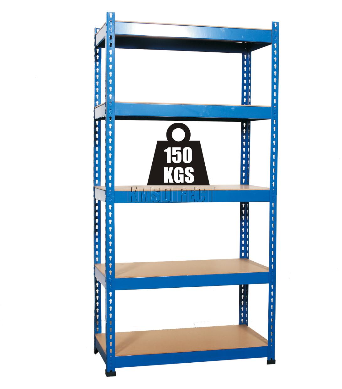 regal ohne schrauben 5 ebenen robust blau garage aufbewahrung stahlregal 180cm ebay. Black Bedroom Furniture Sets. Home Design Ideas