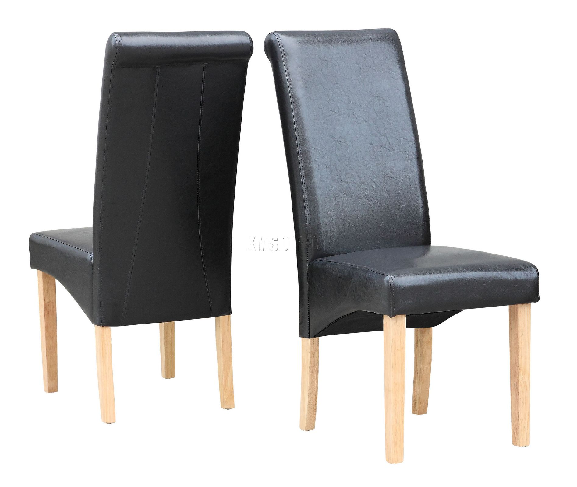 Black modern dining room chair faux leather roll top for Black leather dining room chairs