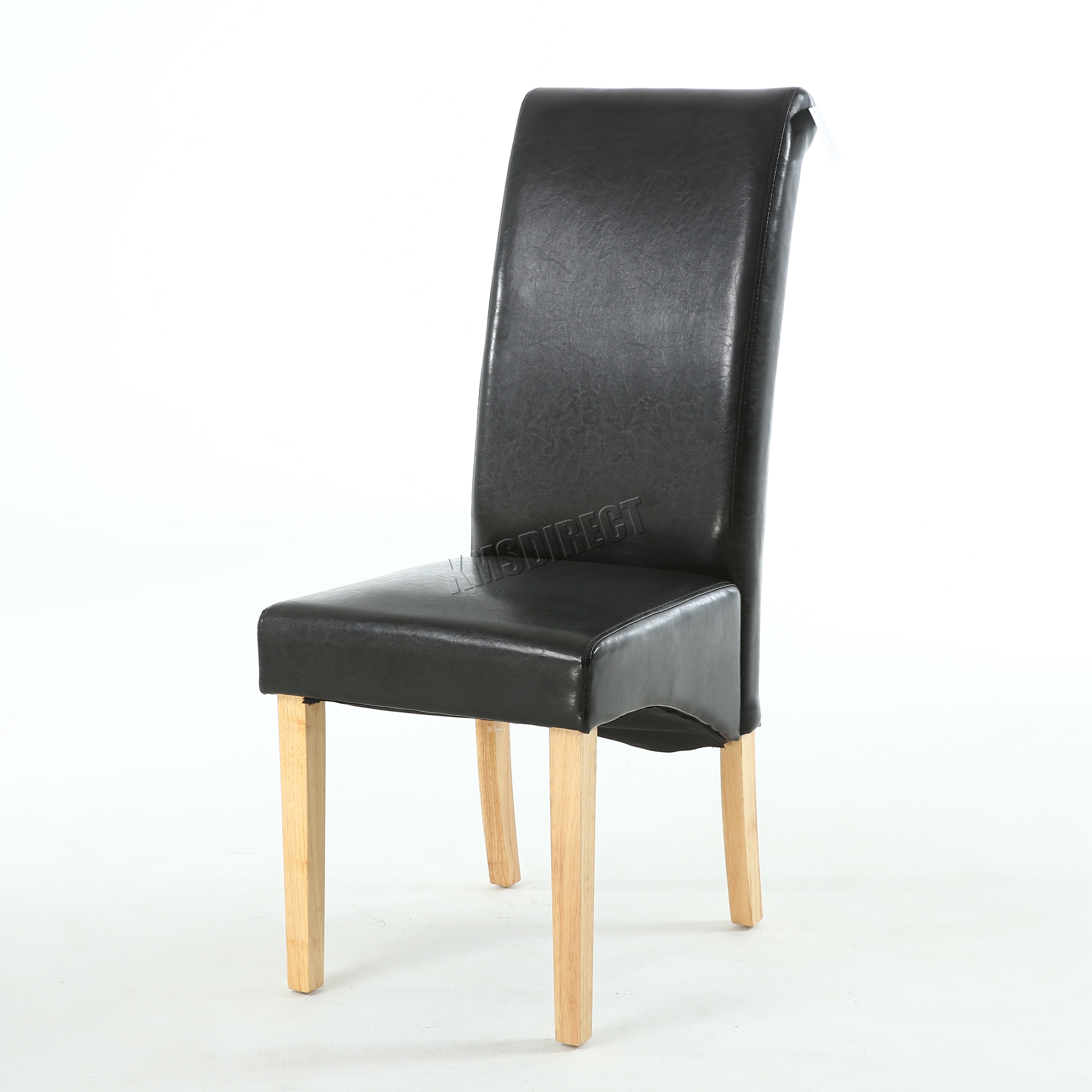 about new black faux leather dining chairs roll top scroll high back
