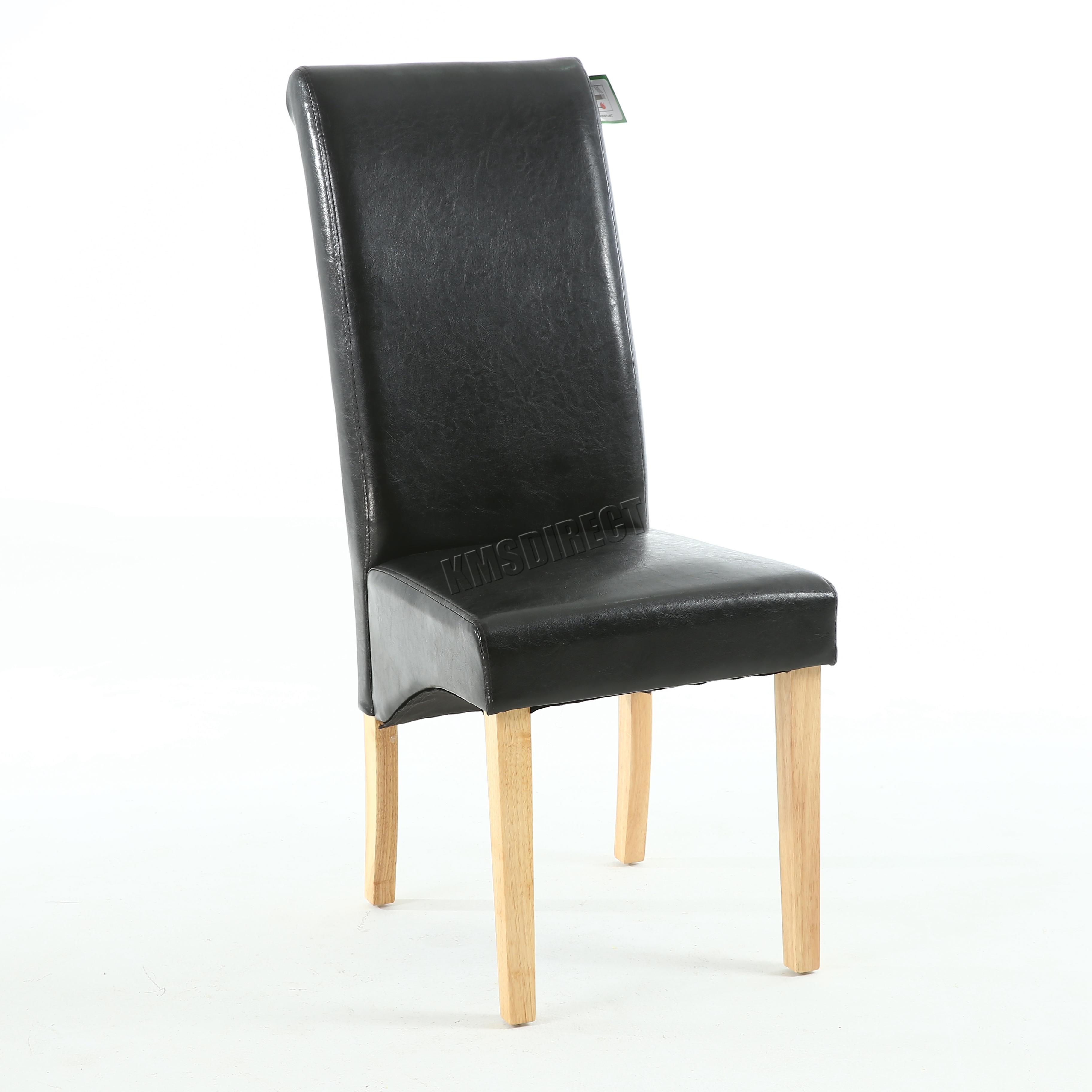 Simili cuir noir chaise salle manger rouleau haut for Chaise de salle a manger trackid sp 006