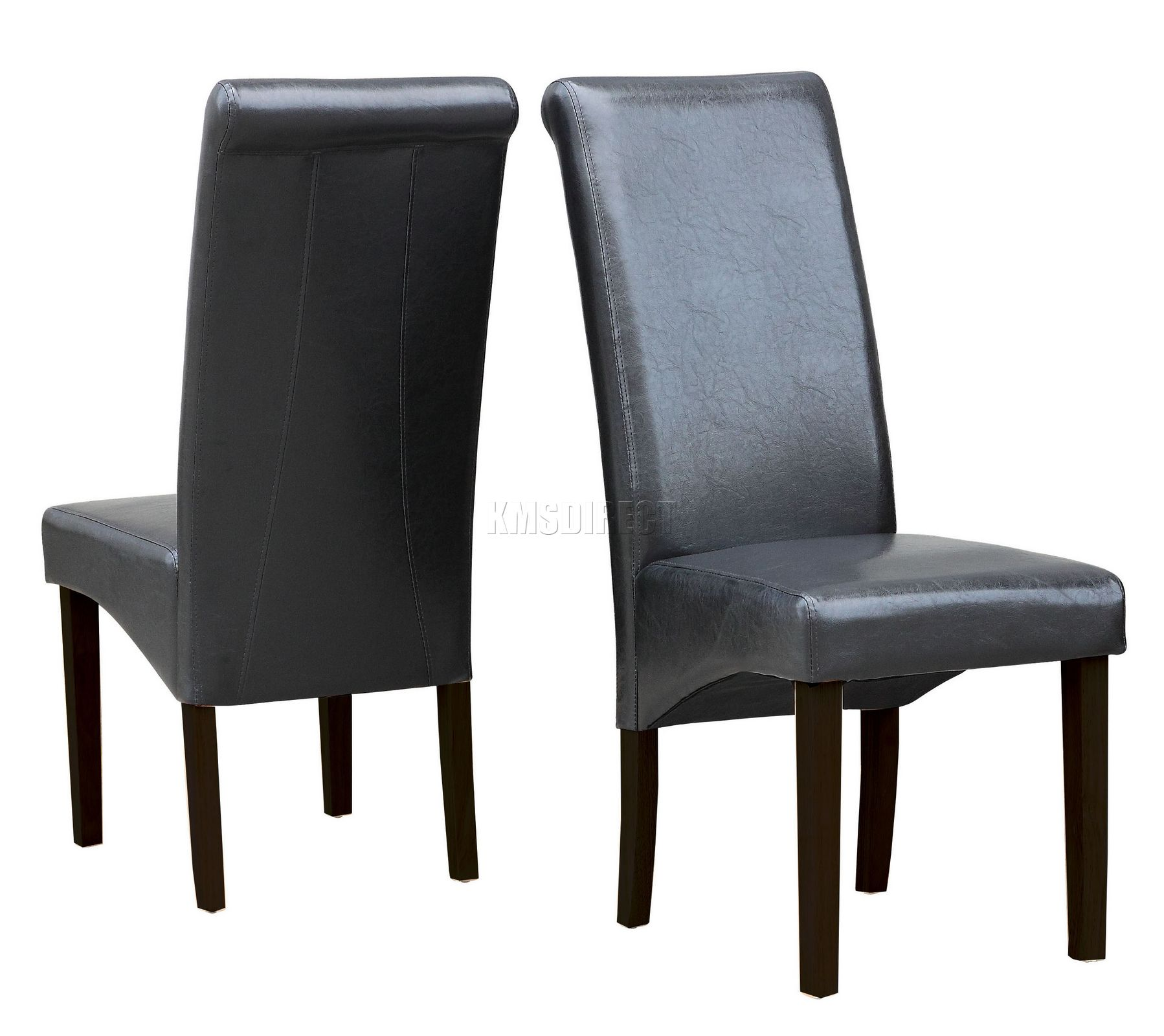 premium dining chair black faux leather roll top scroll high back wood