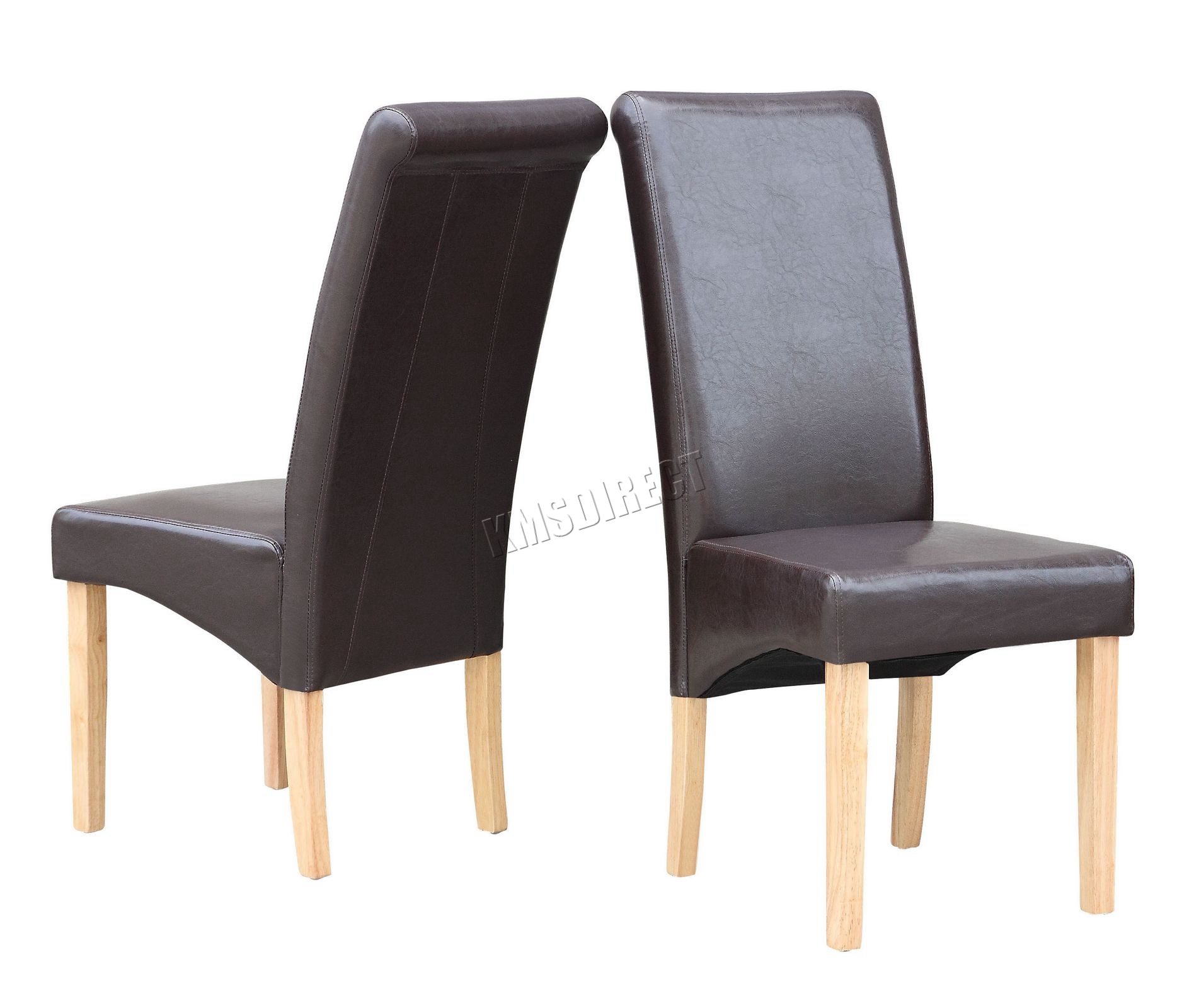 New brown faux leather dining chairs roll top scroll high for Faux leather dining chairs