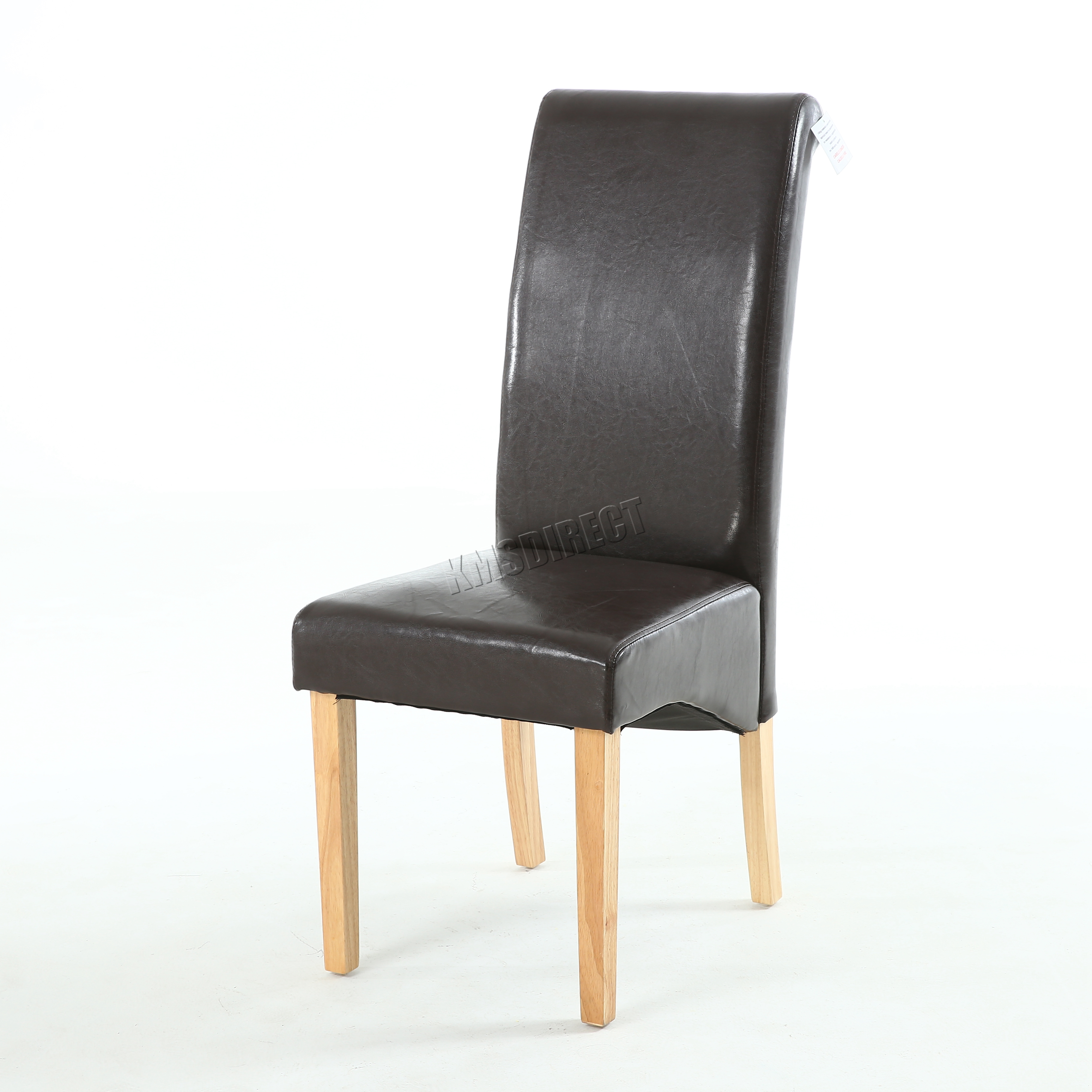 New Brown Faux Leather Dining Chairs Roll Top Scroll High Back Wood Legs Kitchen