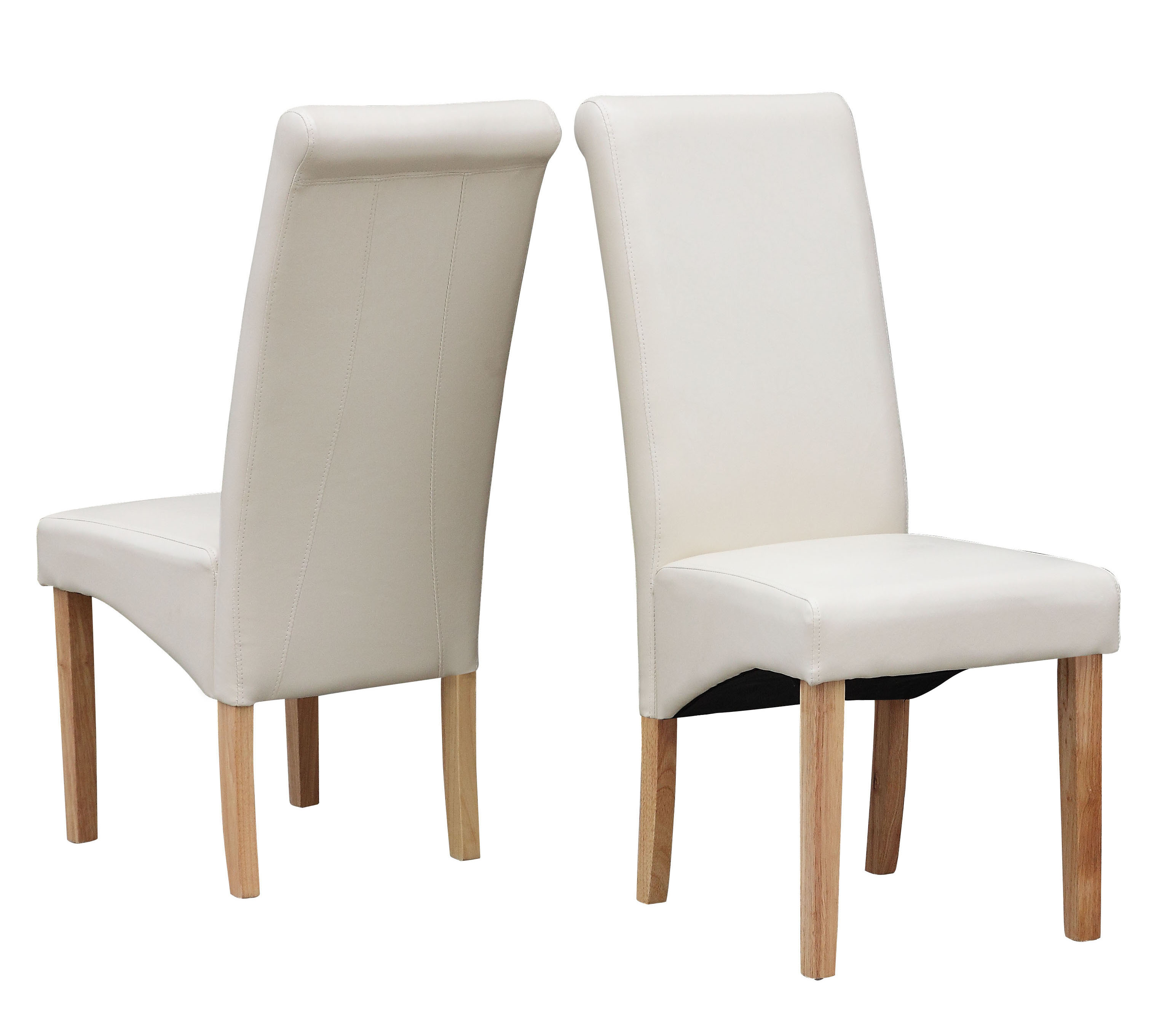 Cream modern dining room chair faux leather roll top scroll high back solid wood - Modern leather dining room chairs ...