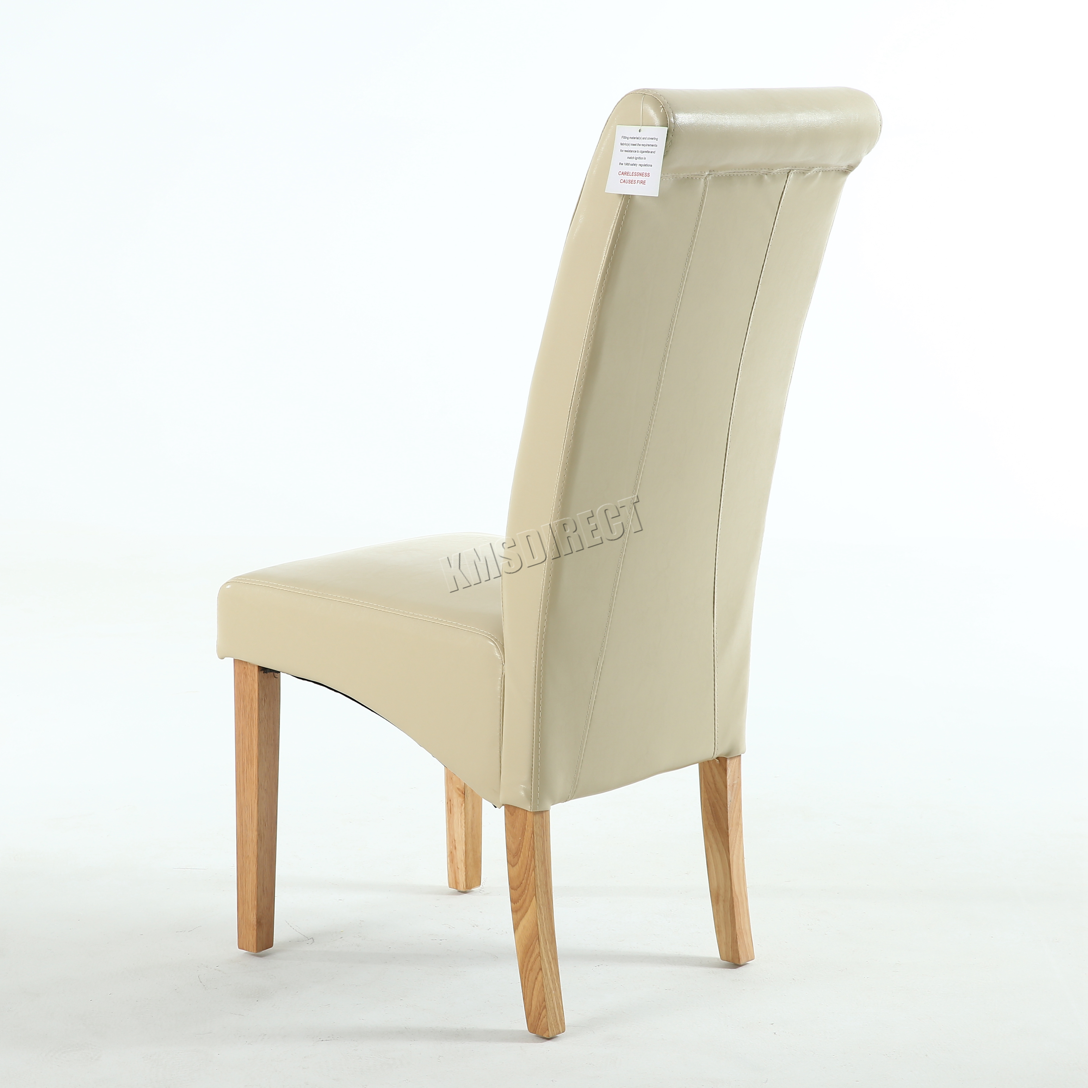 New Cream Faux Leather Dining Chairs Roll Top Scroll High ...