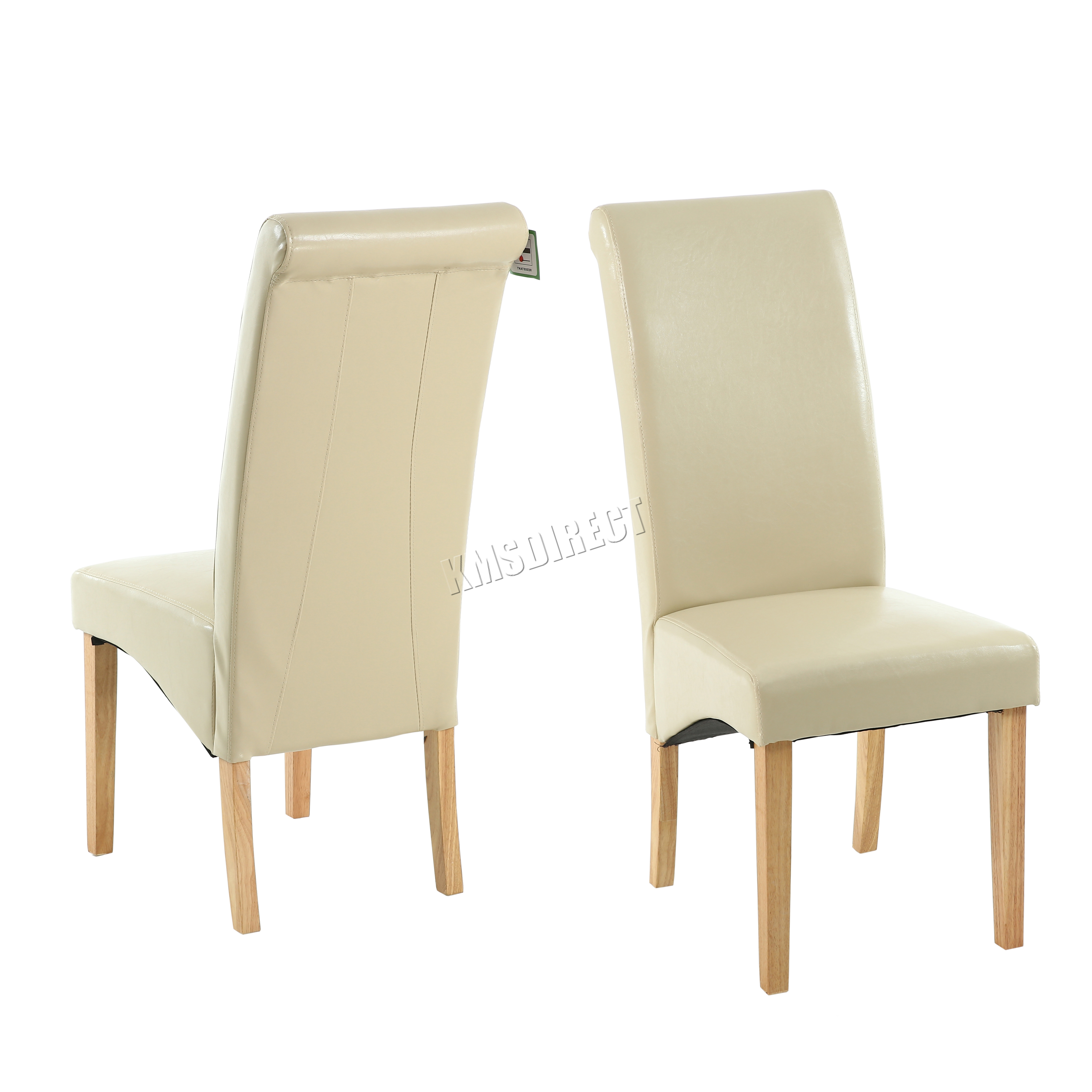High Backed Kitchen Chairs: New Cream Faux Leather Dining Chairs Roll Top Scroll High