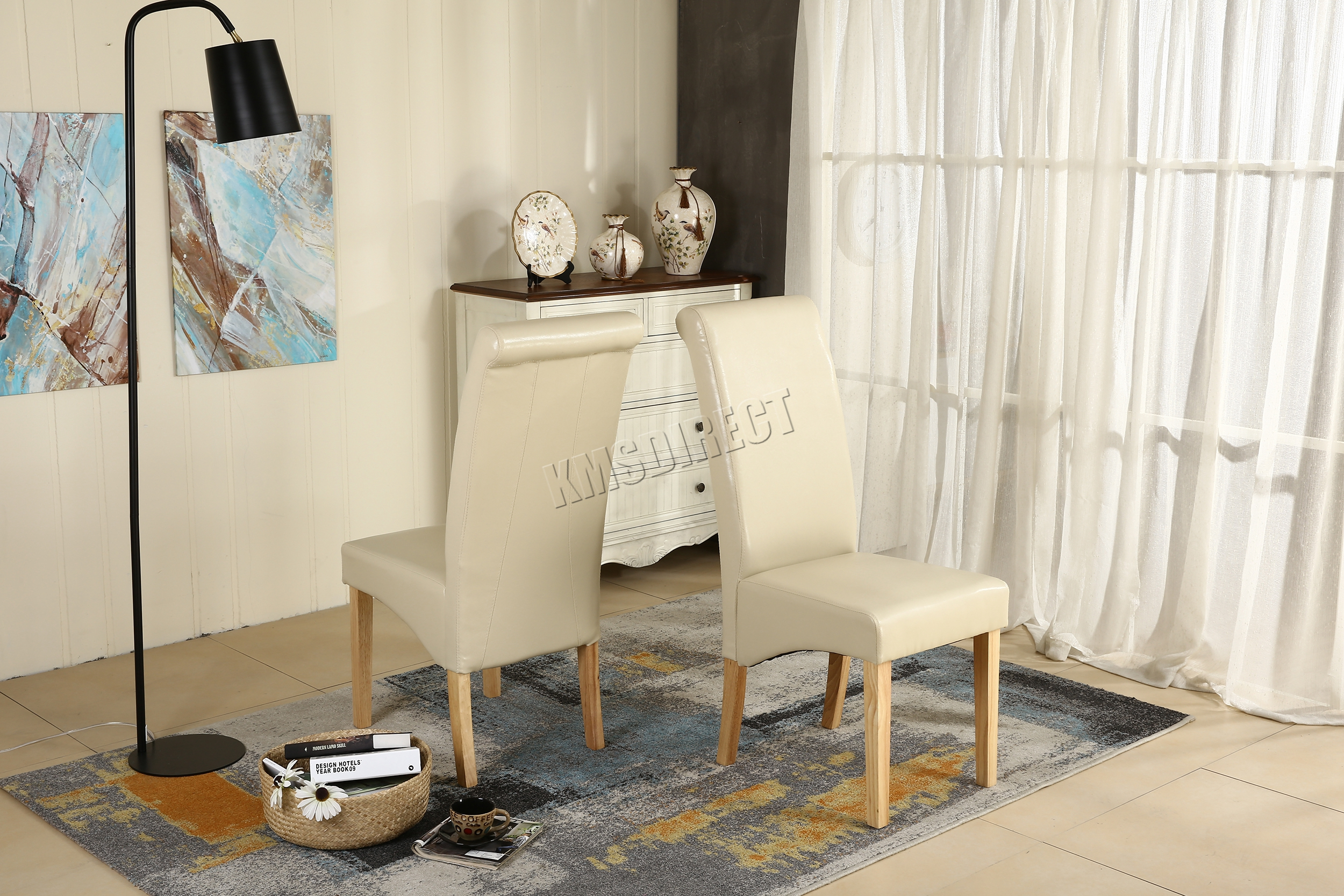 faux leather high back chairs. premium-dining-chairs-faux-leather-roll-top-scroll- faux leather high back chairs