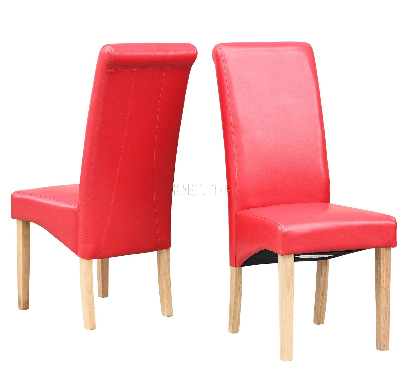 New Red Faux Leather Dining Chairs Roll Top Scroll High