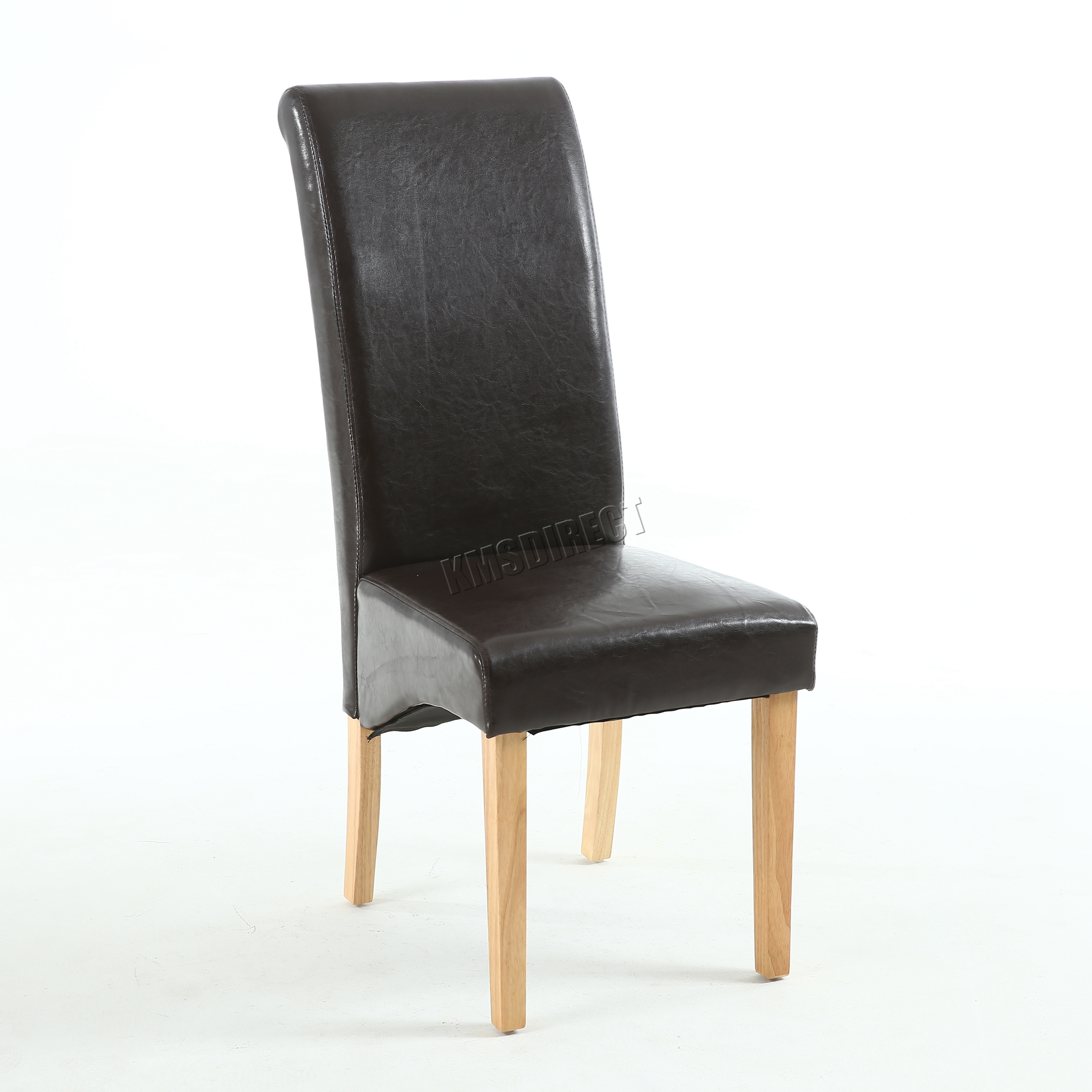 Premium Dining Chairs Faux Leather Roll Top Scroll High Back Wood Furniture S