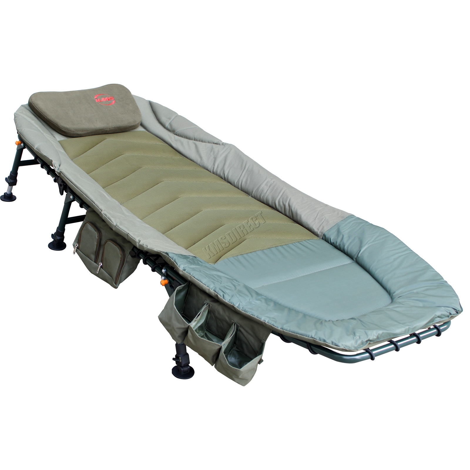 Fishing bed chair bedchair camping 6 adjustable legs tool bag pillow