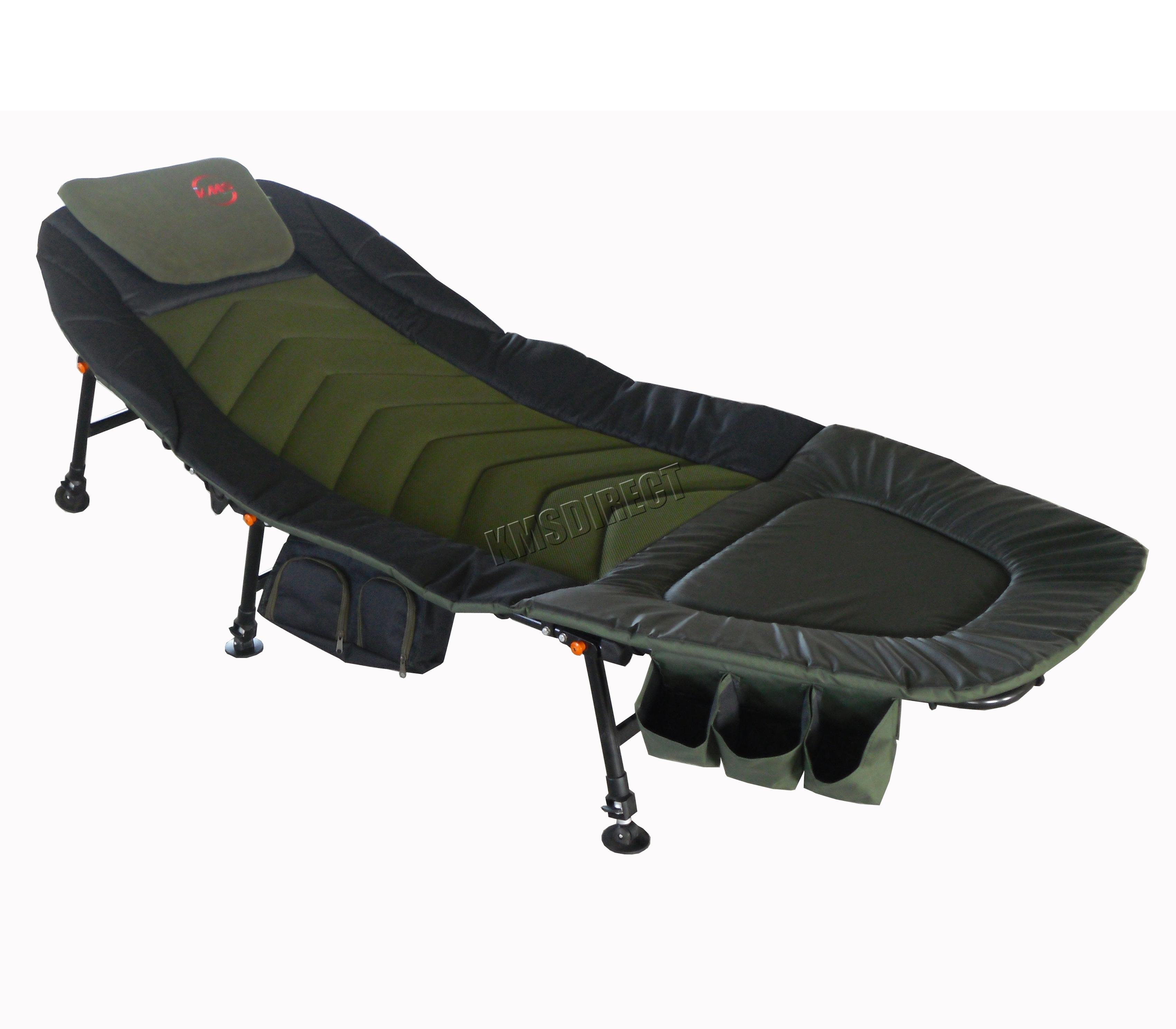 Adjustable Beds Reviews >> Fishing Camping Bed Chair Bedchair 6 Adjustable Legs Tool Bag Pillow Dark Green | eBay