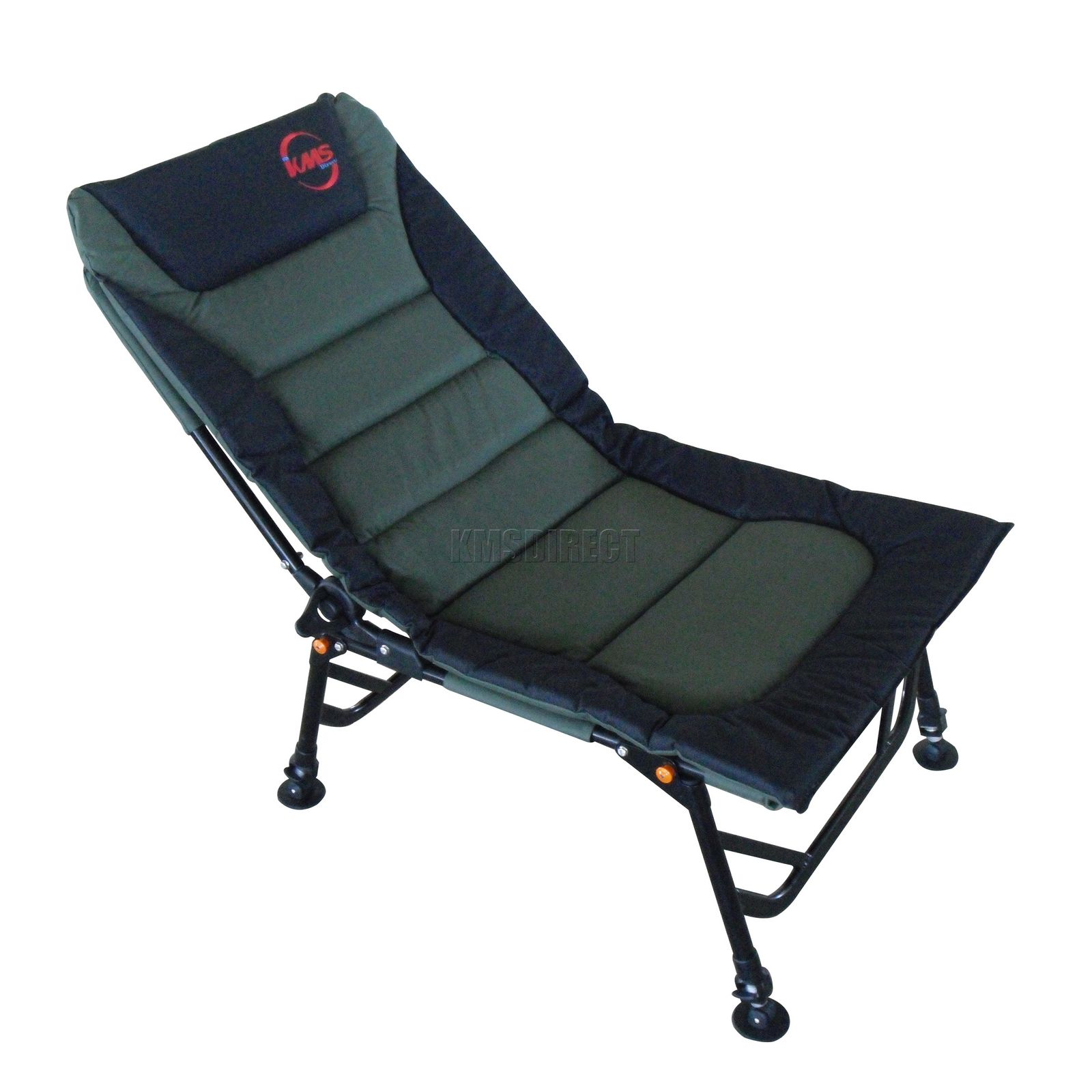Outdoor Folding Fishing Chair Camping Recliner 4 Adjustable Legs XL Dark Gree