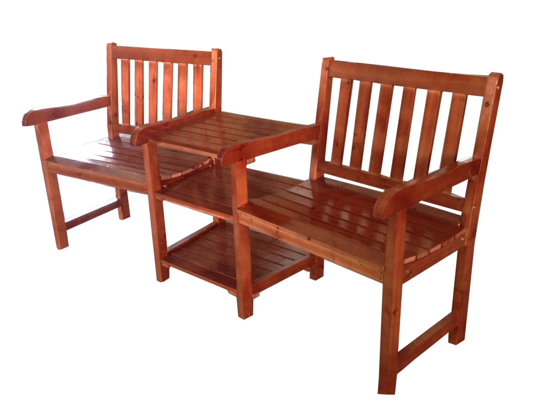 2 seater wooden companion bench chair table tawny outdoor for Outdoor furniture benches