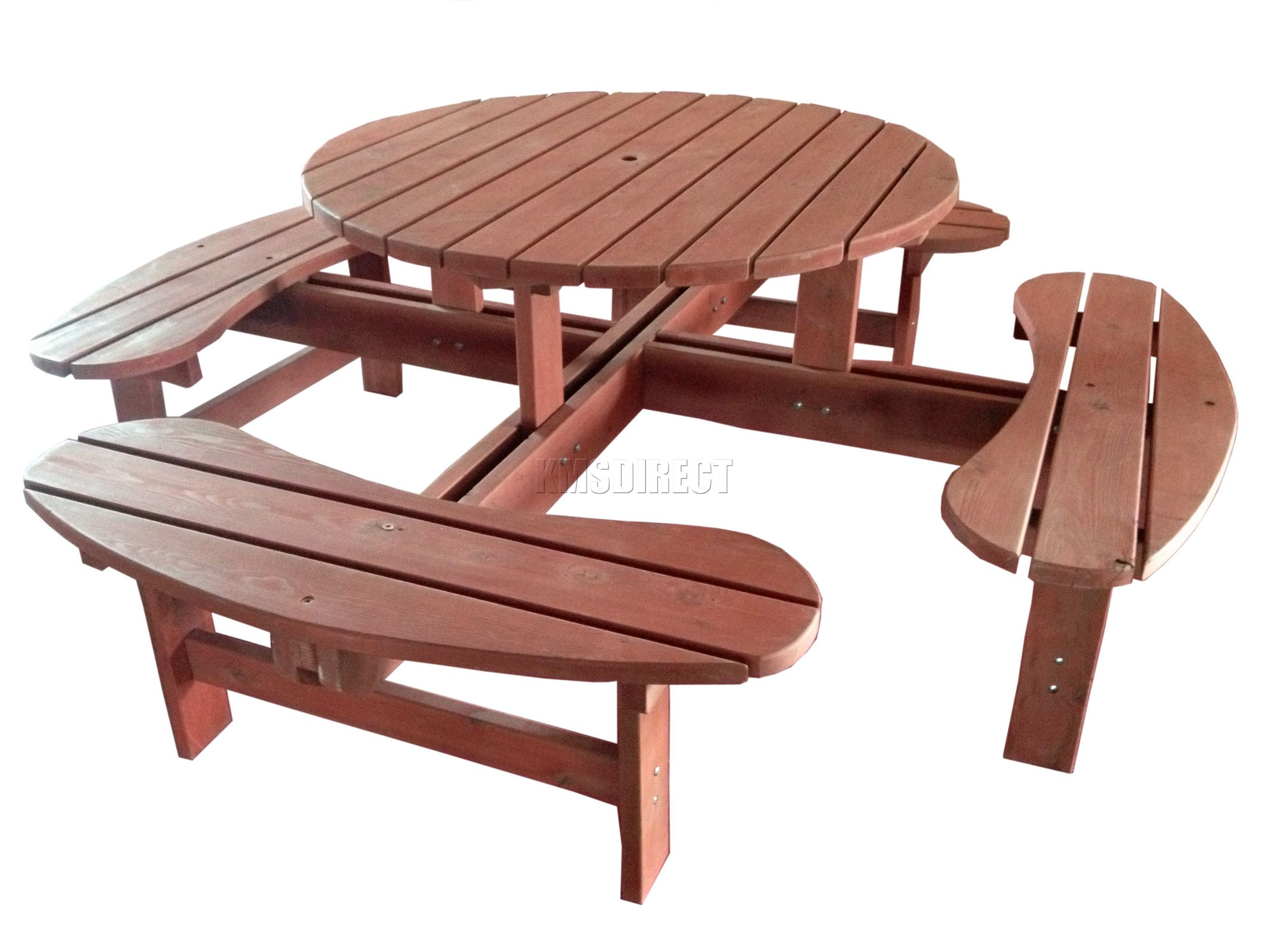New 8 Seater Wooden Pub Bench Round Picnic Table Furniture Brown Garden Patio Ebay