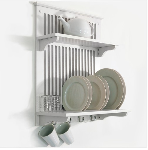 white kitchen dish plate bowl cup towel drainer holder