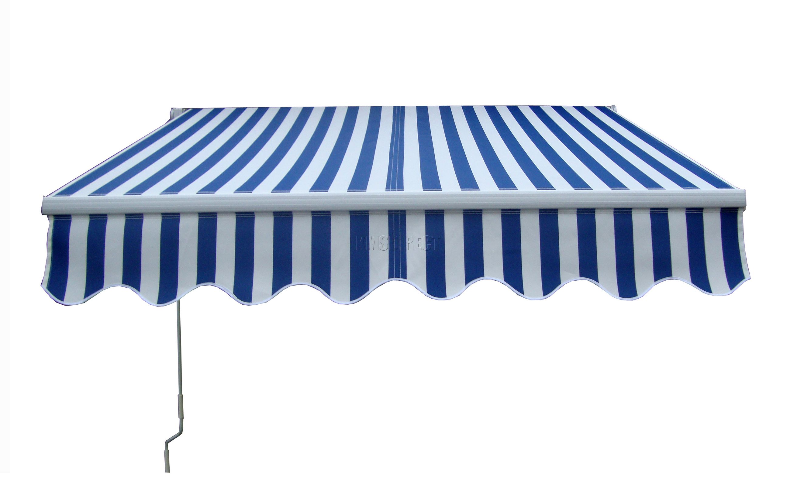 Patio Manual Retractable Awning Canopy Sun Shade Shelter Blue