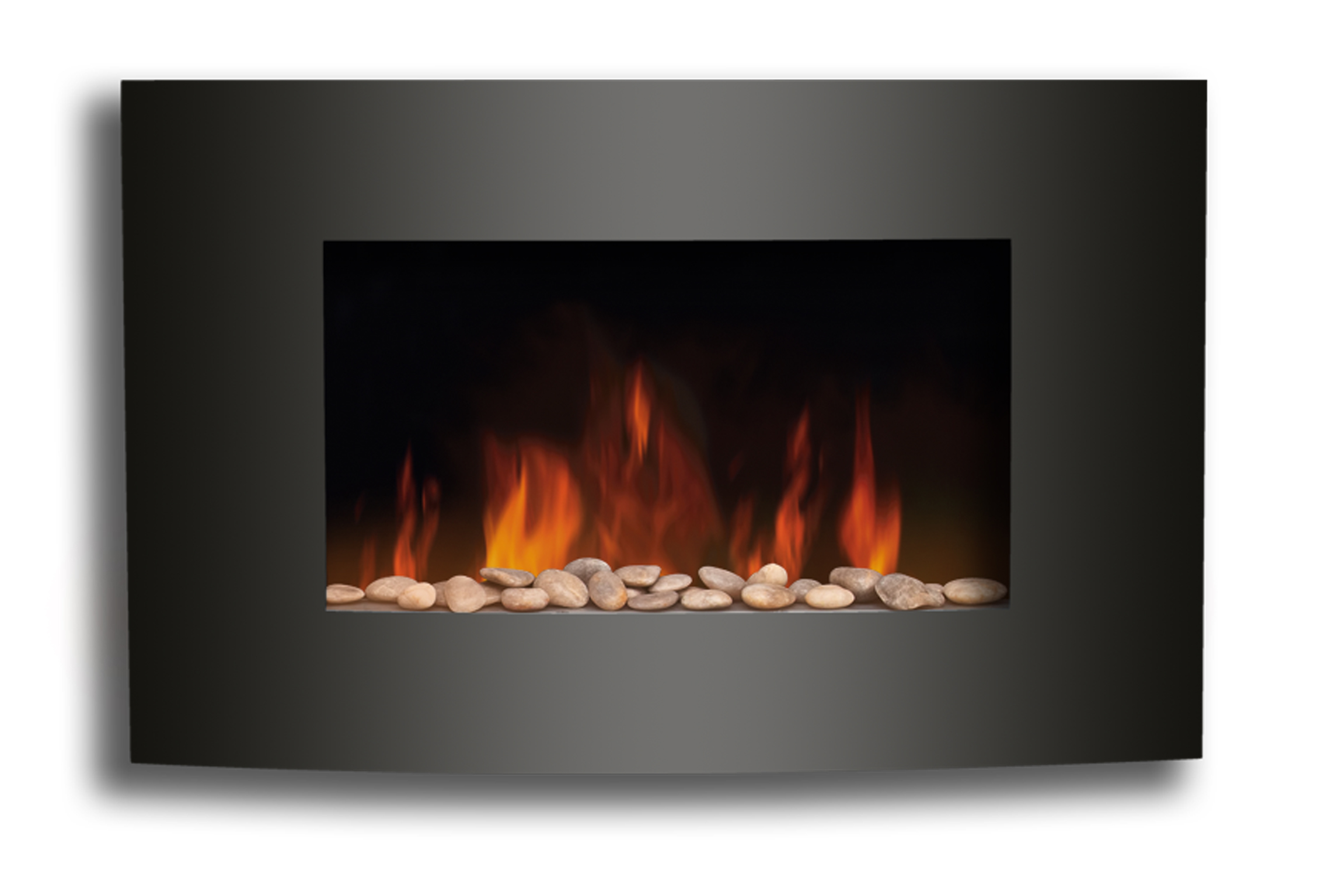 Amazing Flame Effect Electric Fires Part - 1: Sentinel New Wall Mounted Electric Fire Fireplace Black Curved Glass Heater Flame  Effect